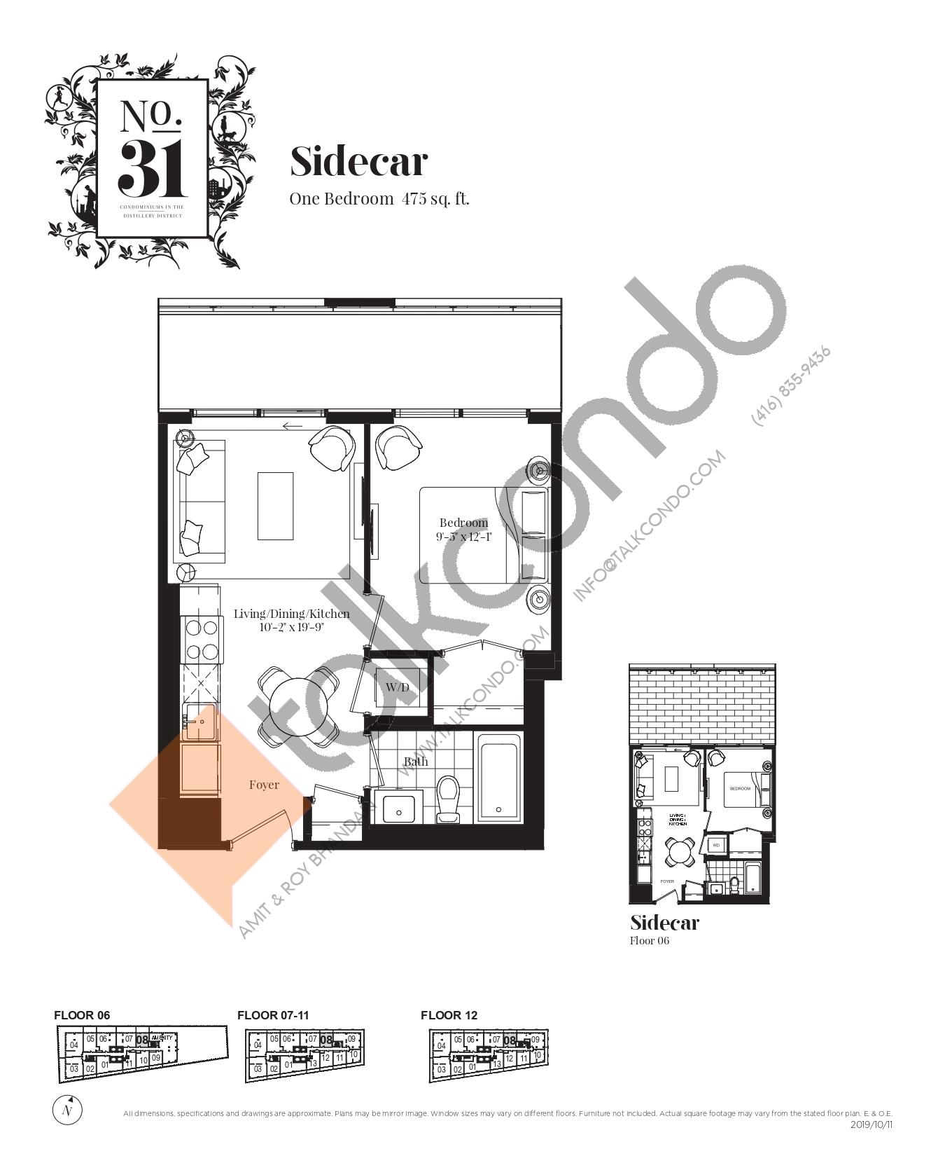 Sidecar Floor Plan at No. 31 Condos - 475 sq.ft