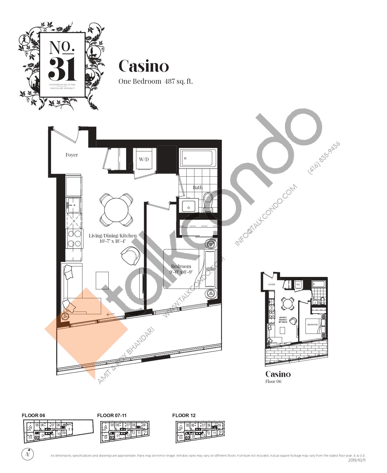 Casino Floor Plan at No. 31 Condos - 487 sq.ft