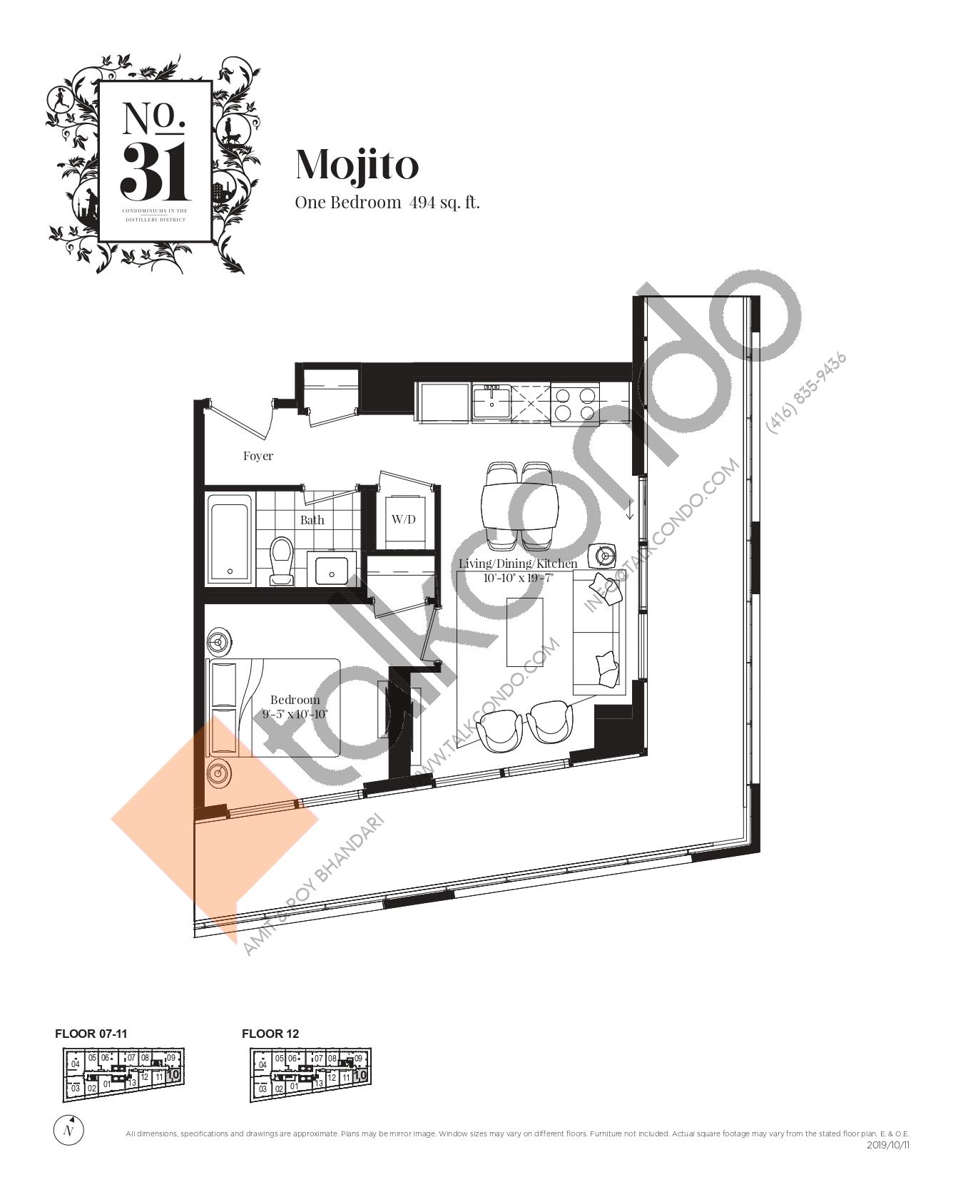 Mojito Floor Plan at No. 31 Condos - 494 sq.ft