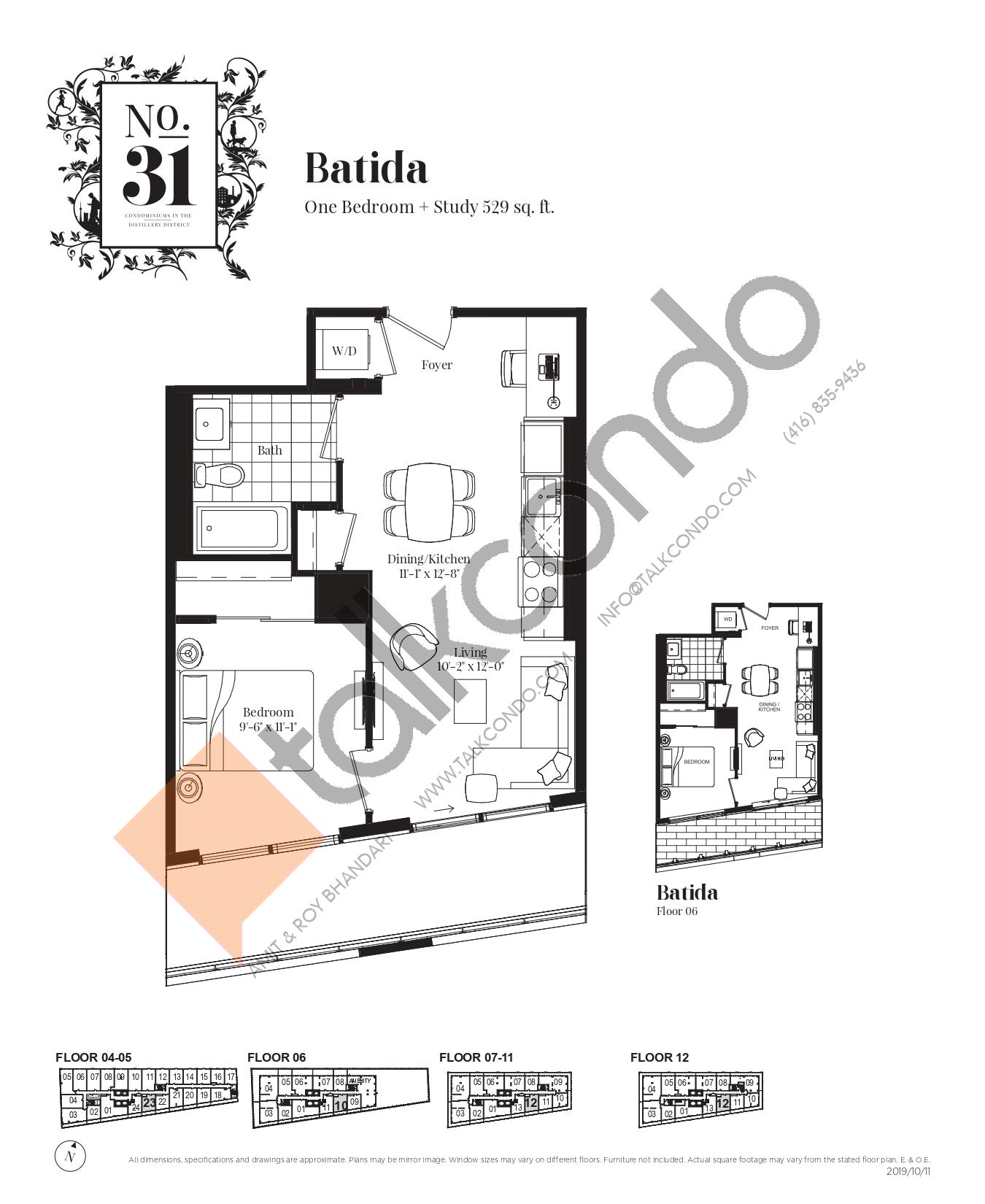 Batida Floor Plan at No. 31 Condos - 529 sq.ft
