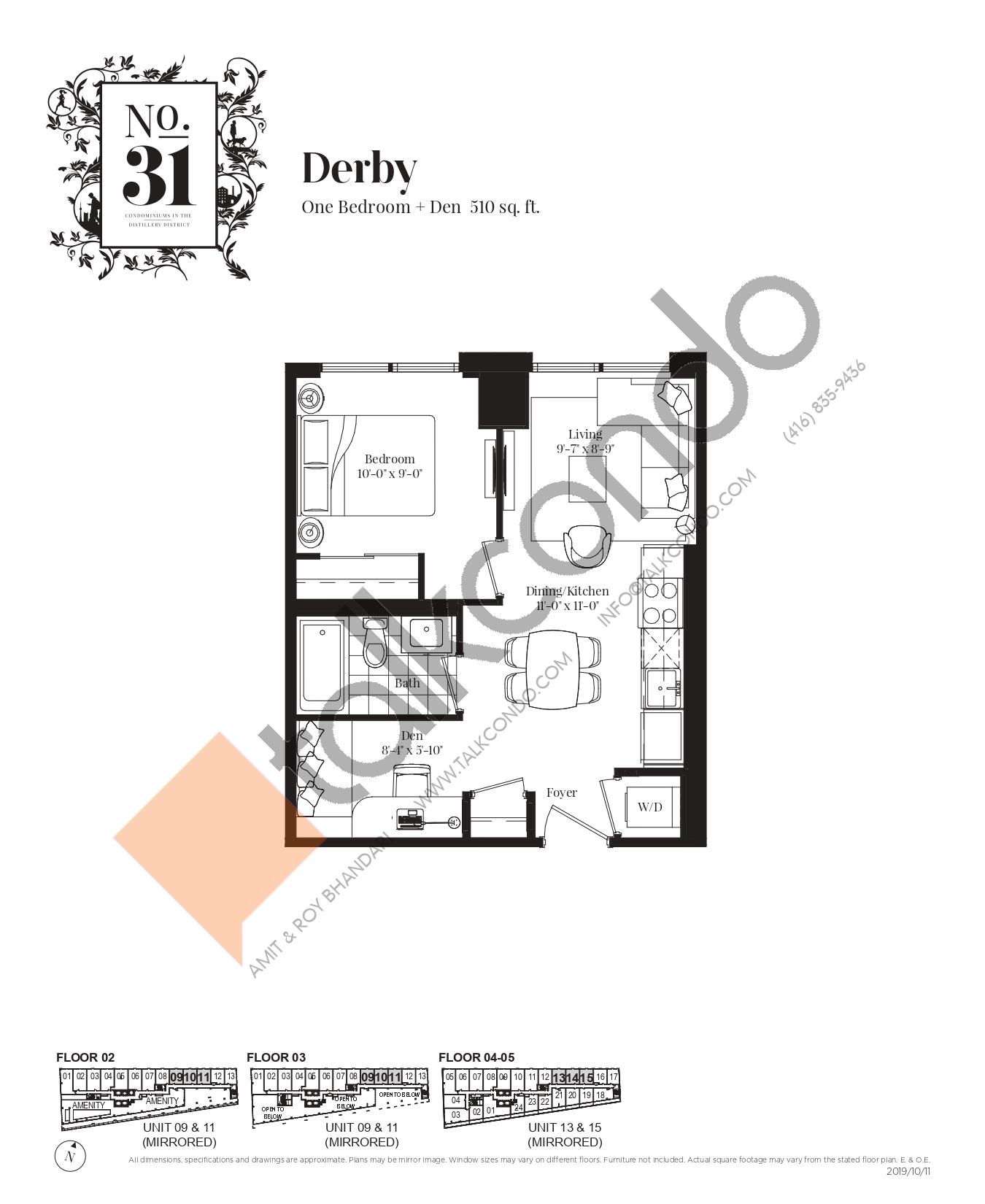Derby Floor Plan at No. 31 Condos - 510 sq.ft