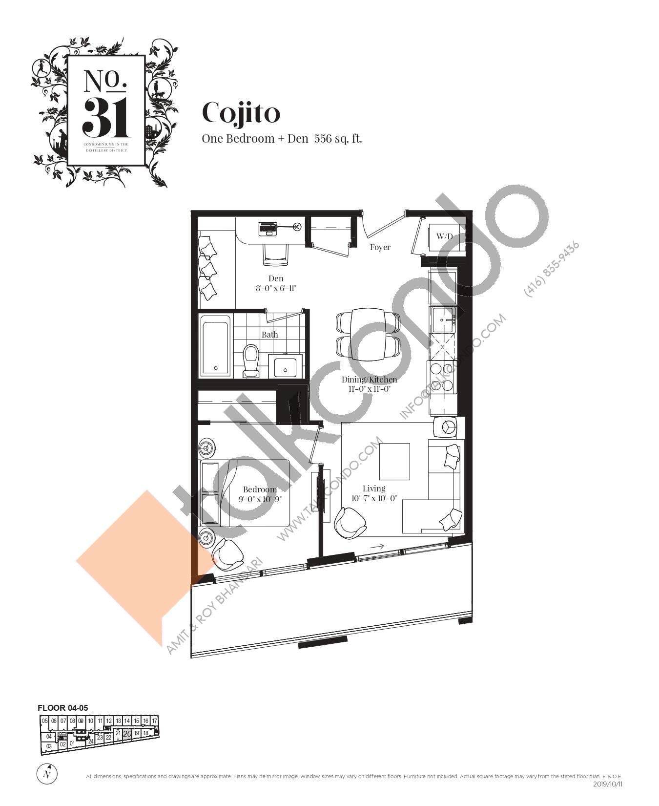 Cojito Floor Plan at No. 31 Condos - 556 sq.ft