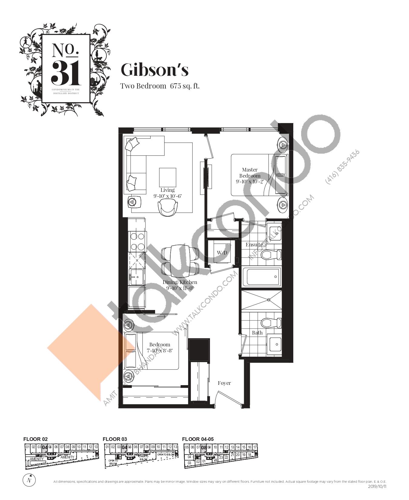 Gibson's Floor Plan at No. 31 Condos - 675 sq.ft