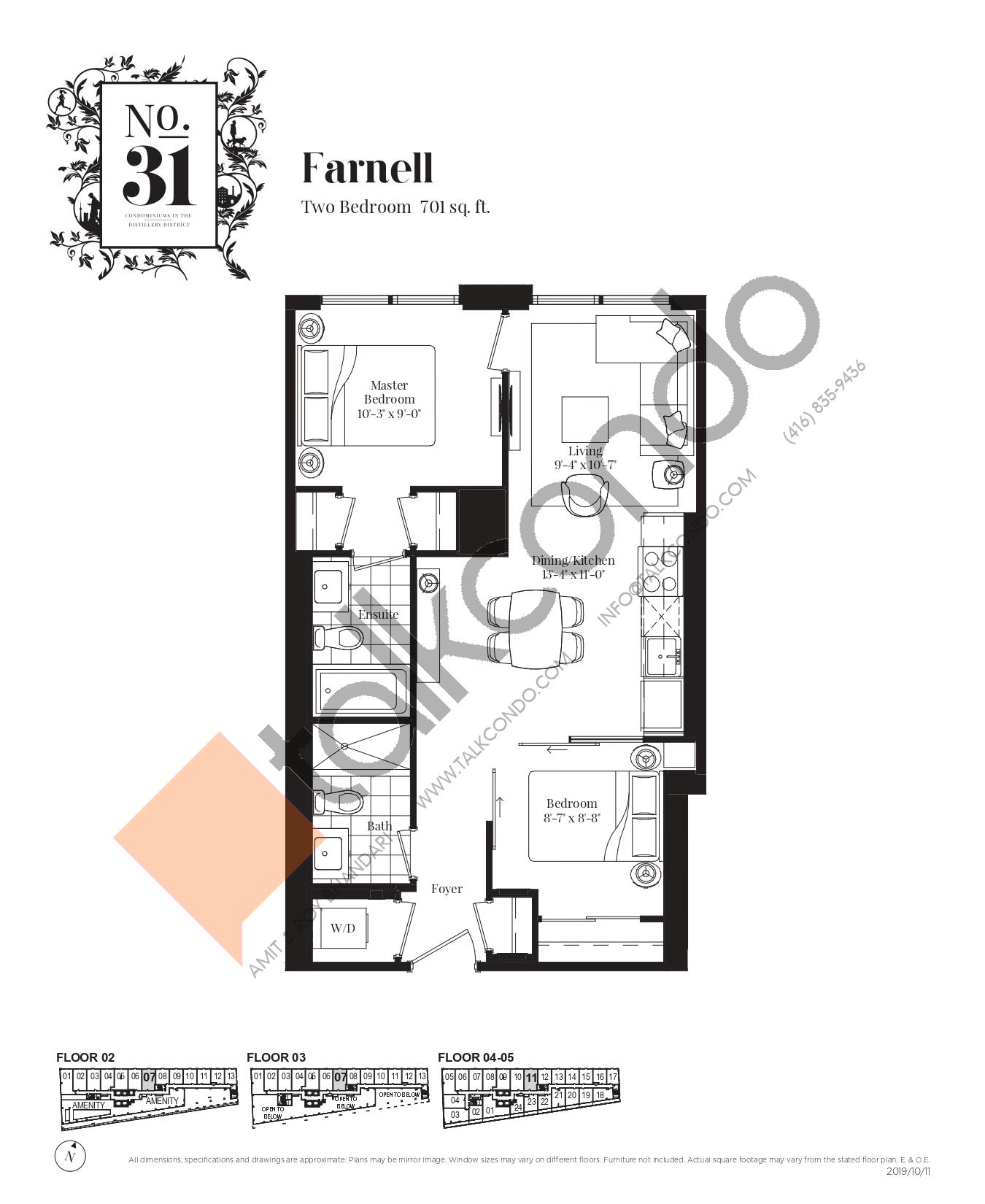 Farnell Floor Plan at No. 31 Condos - 701 sq.ft