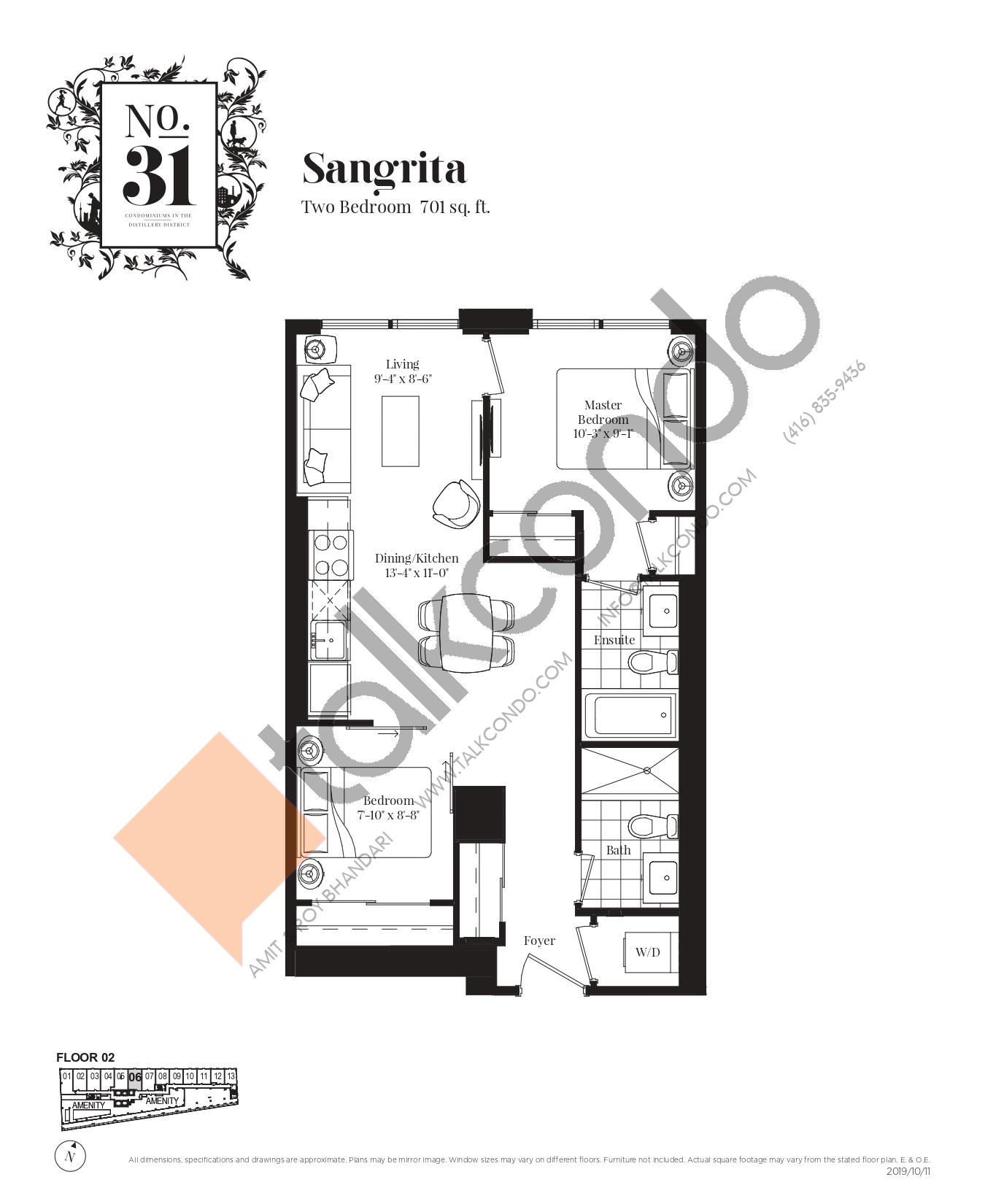 Sangrita Floor Plan at No. 31 Condos - 701 sq.ft