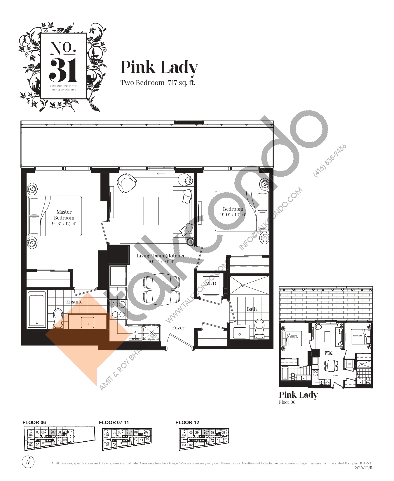 Pink Lady Floor Plan at No. 31 Condos - 717 sq.ft
