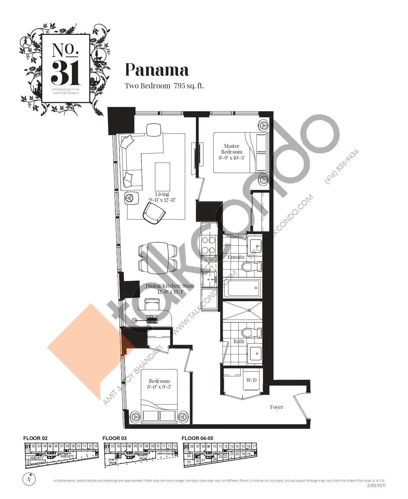 Panama Floor Plan at No. 31 Condos - 795 sq.ft