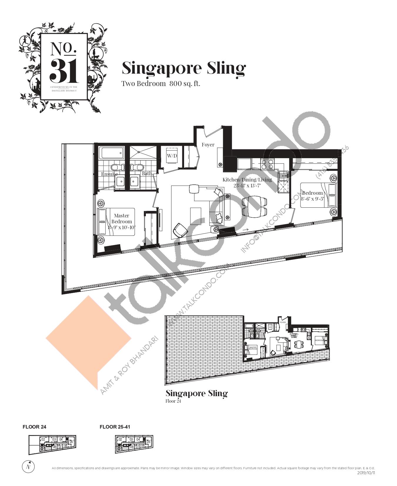 Singapore Sling Floor Plan at No. 31 Condos - 800 sq.ft