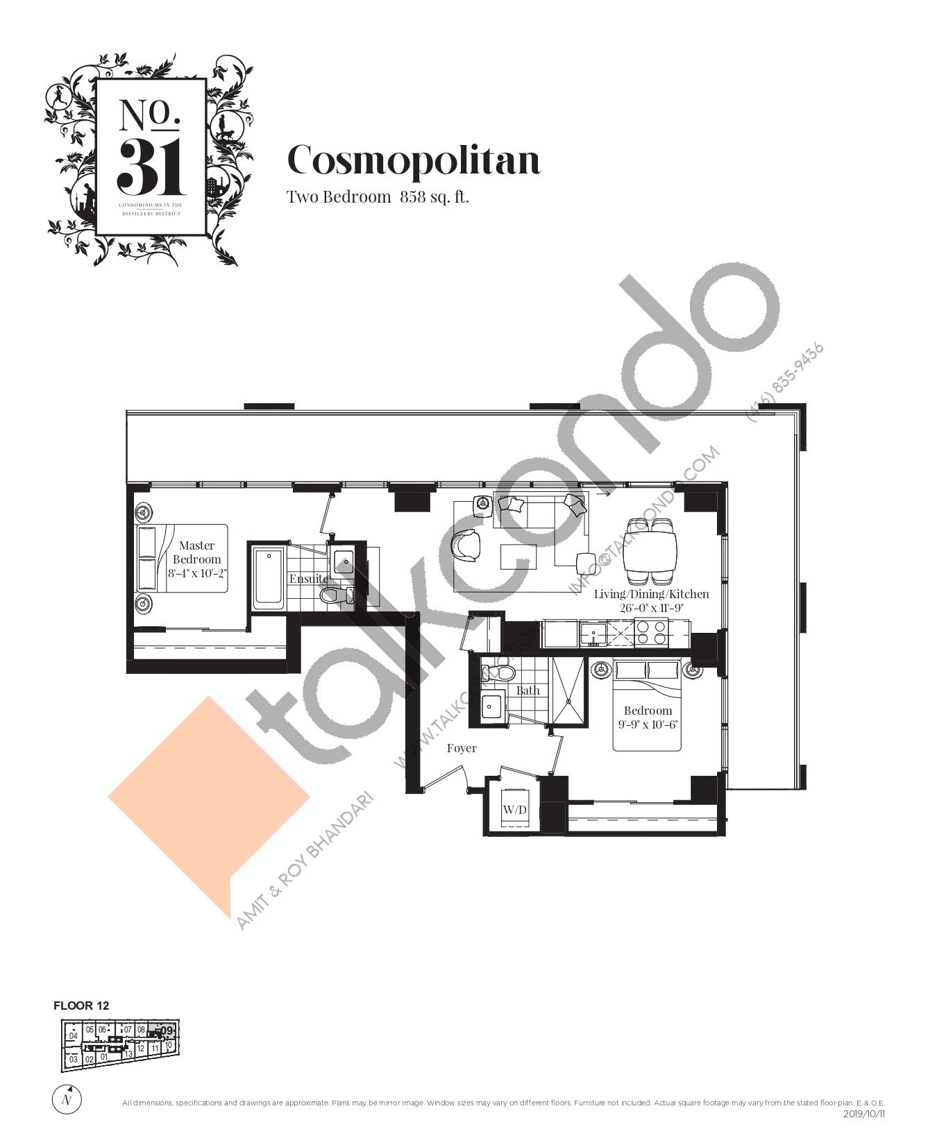 Cosmopolitan Floor Plan at No. 31 Condos - 858 sq.ft