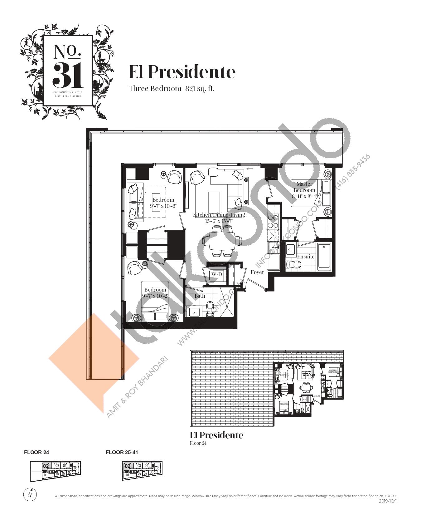 El Presidente Floor Plan at No. 31 Condos - 821 sq.ft