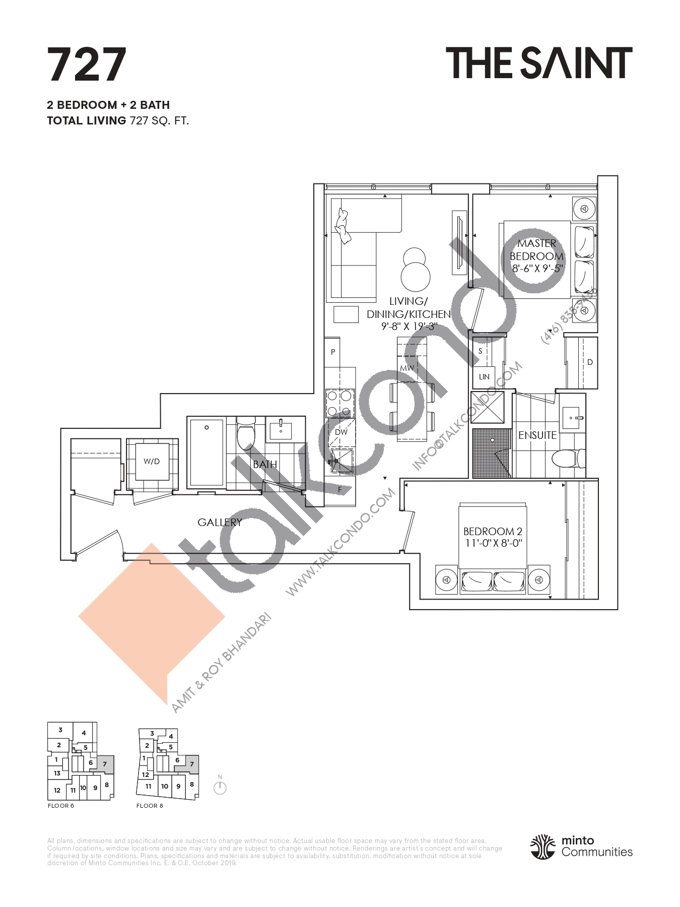 727 Floor Plan at The Saint Condos - 727 sq.ft