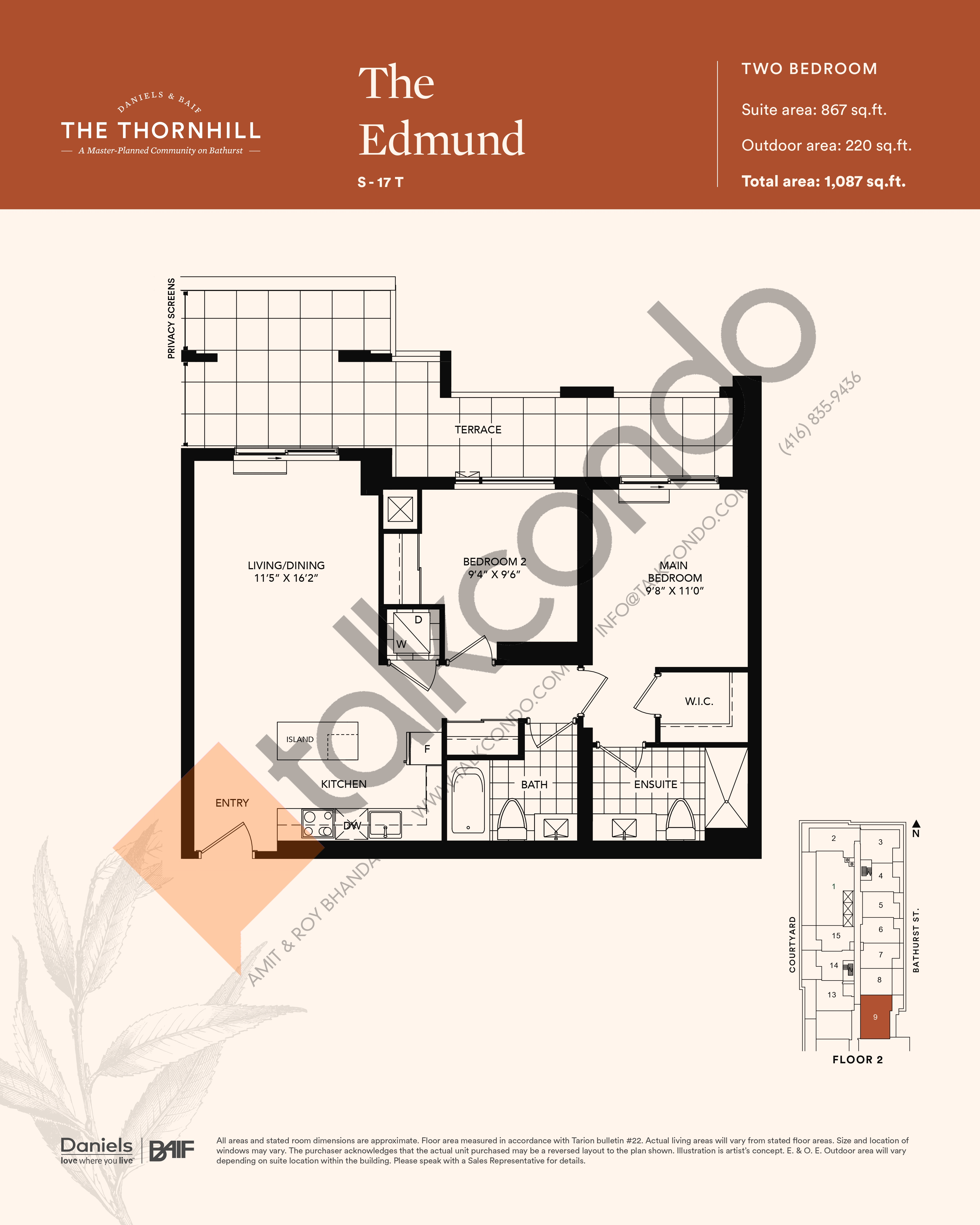 The Edmund Floor Plan at The Thornhill Condos - 867 sq.ft