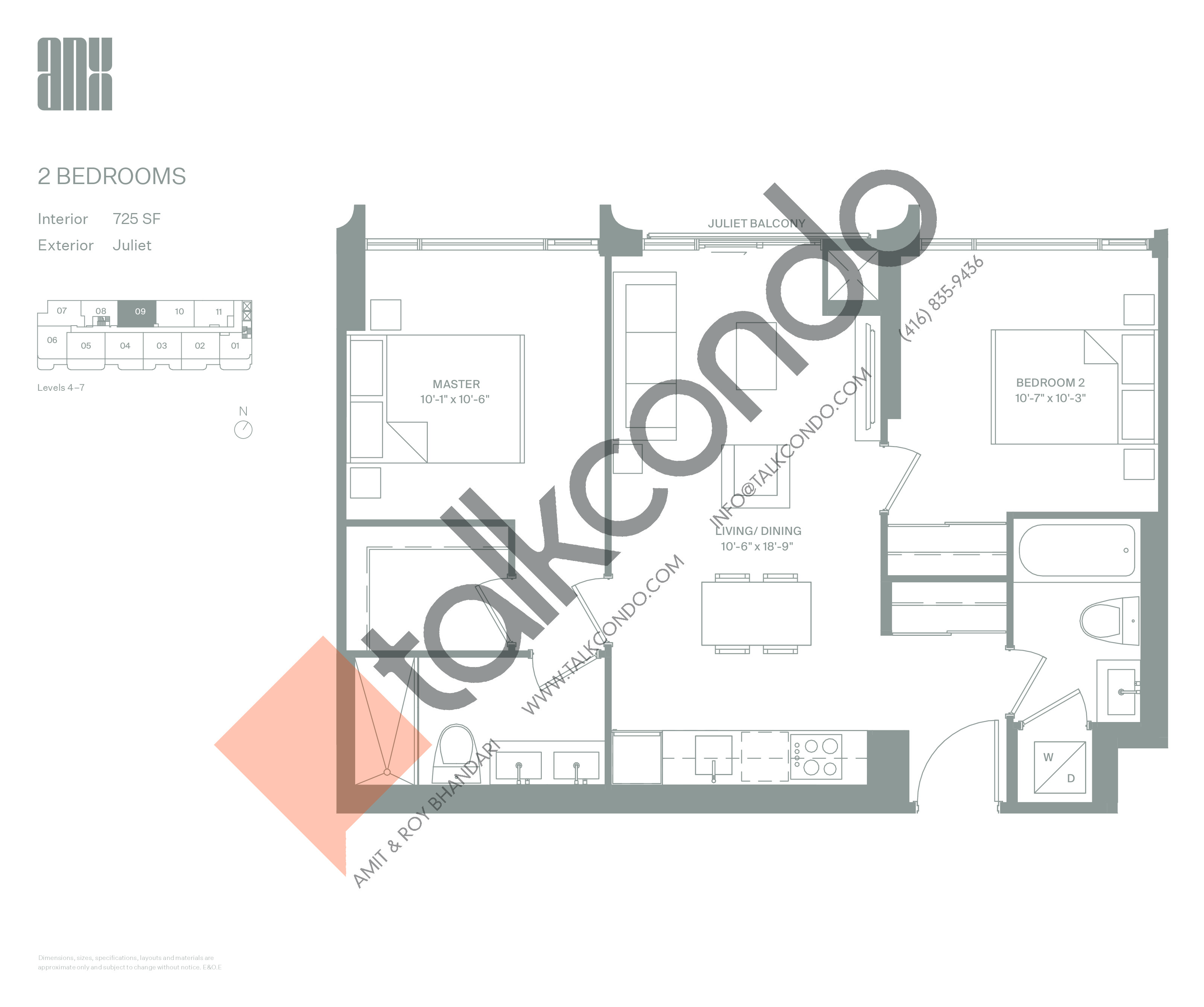 Suite 725 Floor Plan at ANX Condos - 725 sq.ft