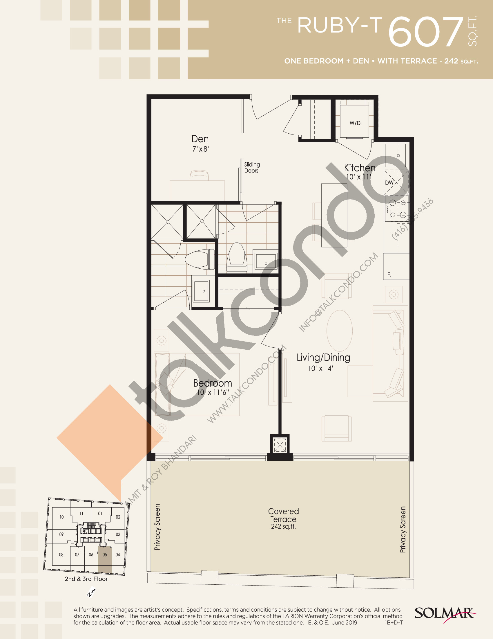 The Ruby-T Floor Plan at Edge Tower 2 Condos - 607 sq.ft