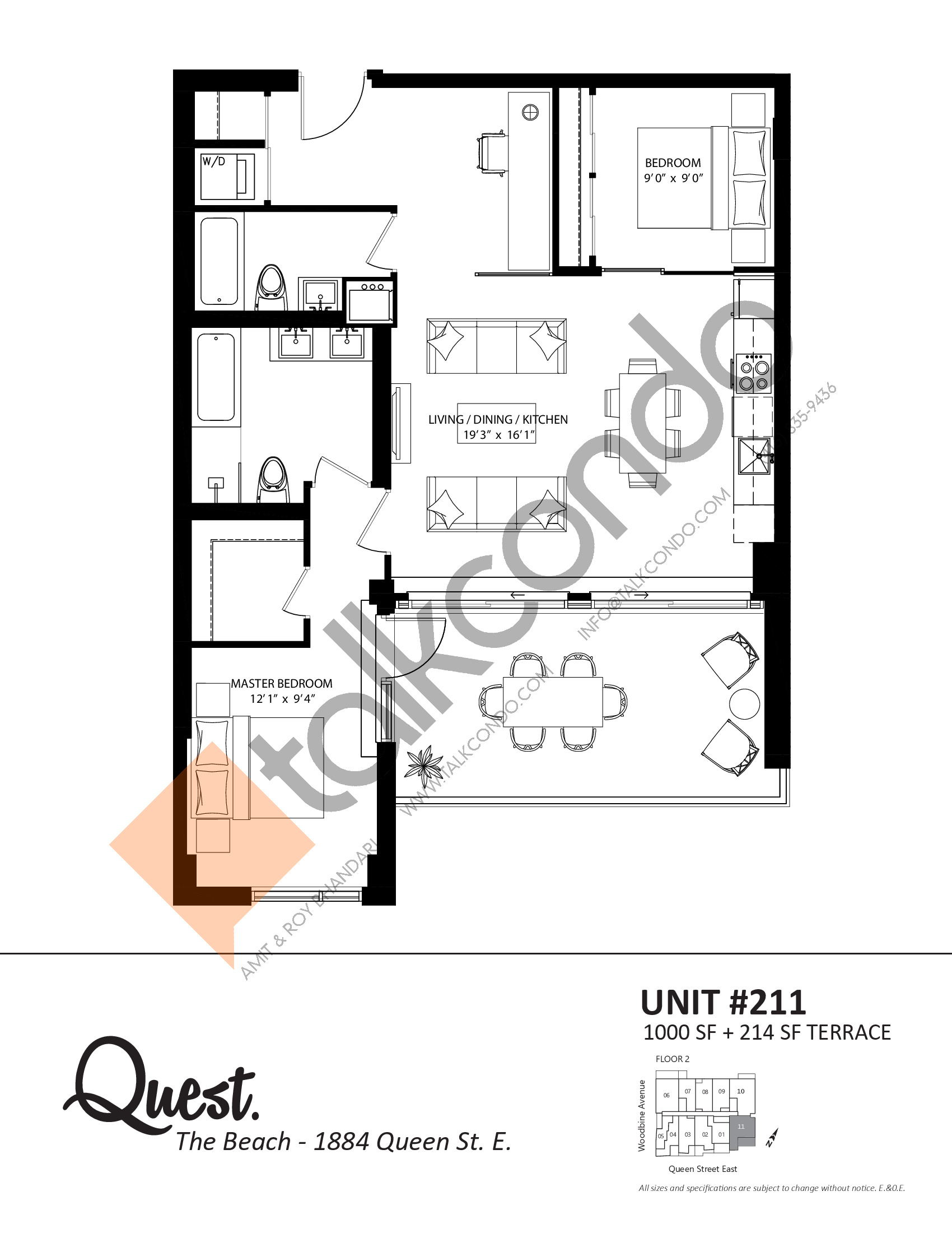 Unit 211 Floor Plan at Heartwood the Beach Condos - 1000 sq.ft