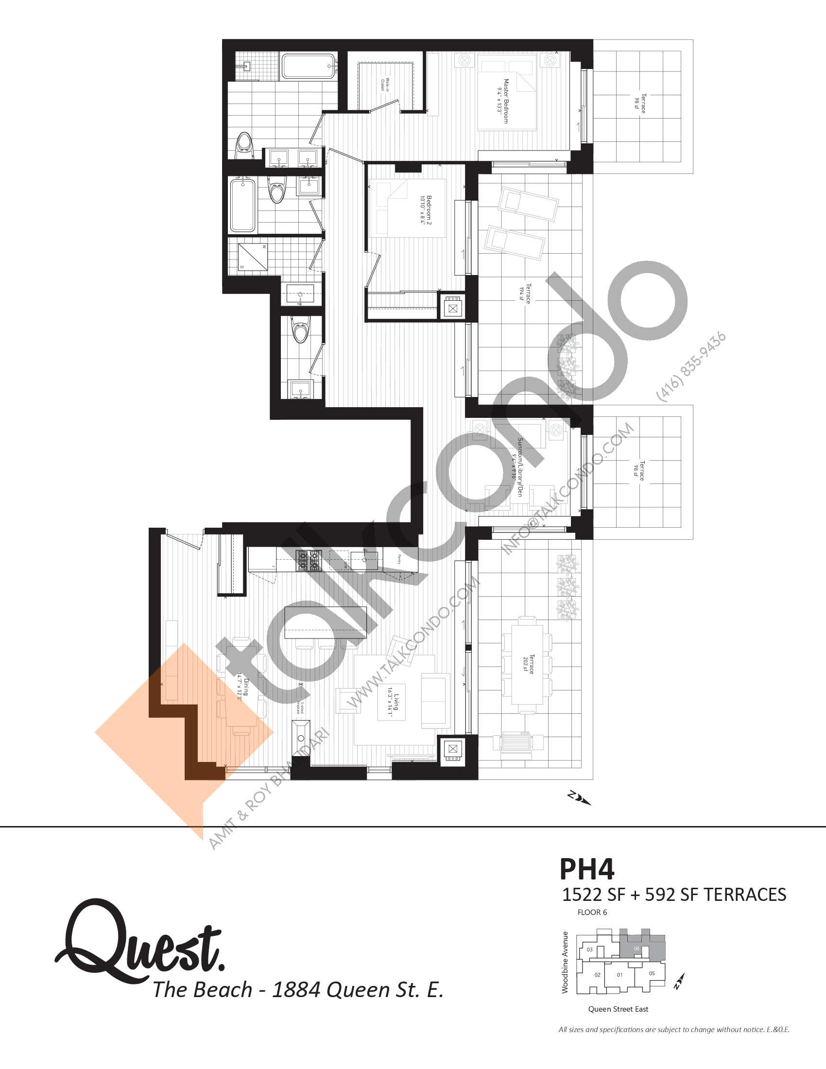 PH4 Floor Plan at Heartwood the Beach Condos - 1522 sq.ft