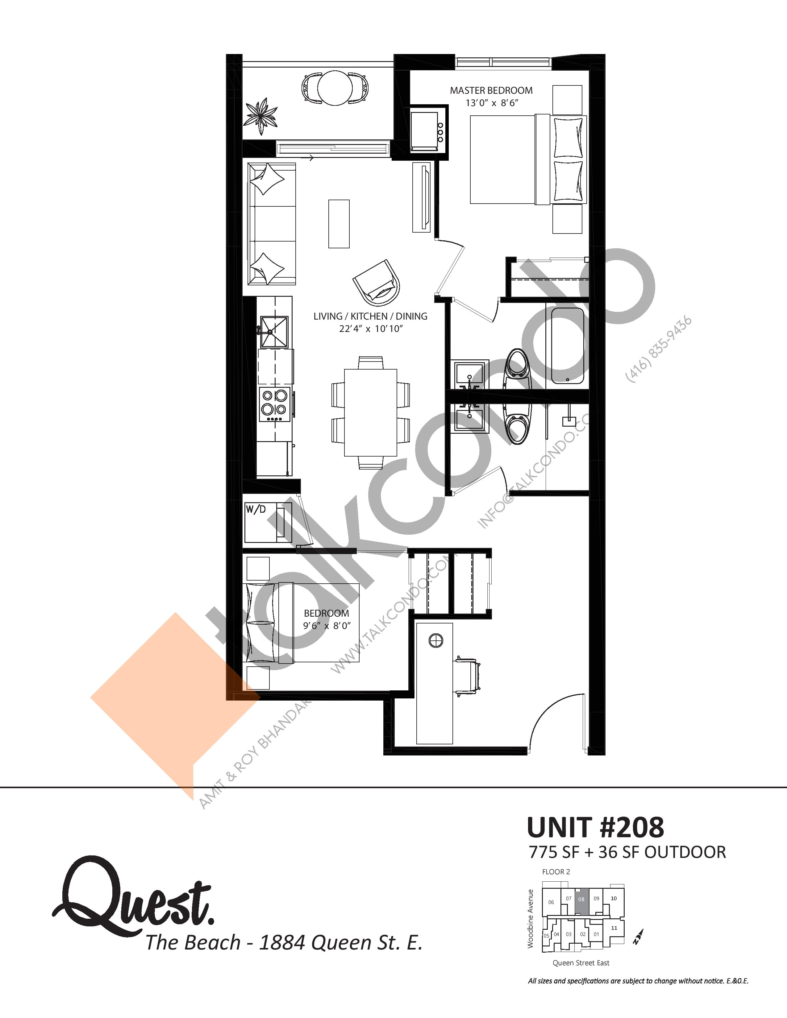 Unit 208 Floor Plan at Heartwood the Beach Condos - 775 sq.ft