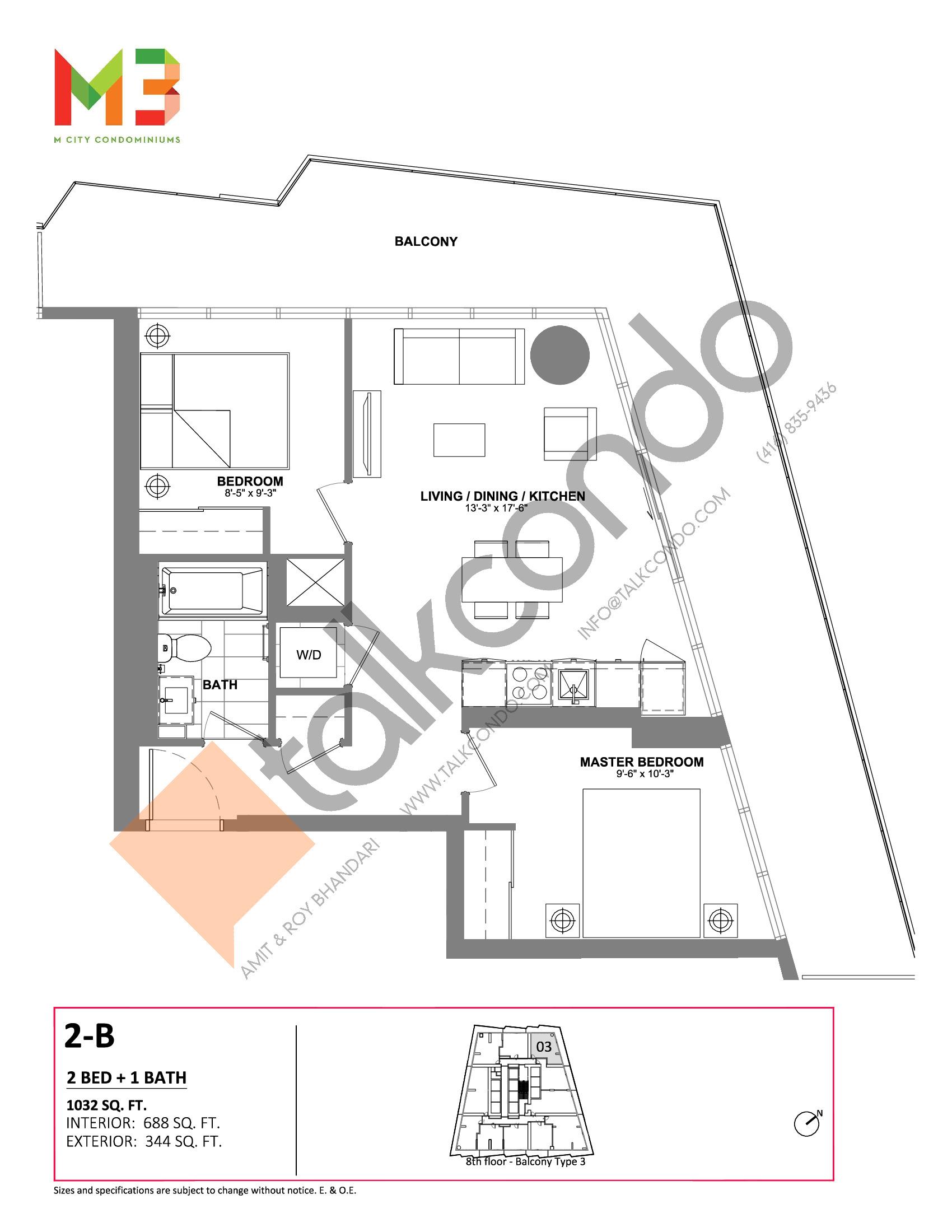 2-B Floor Plan at M3 Condos - 688 sq.ft