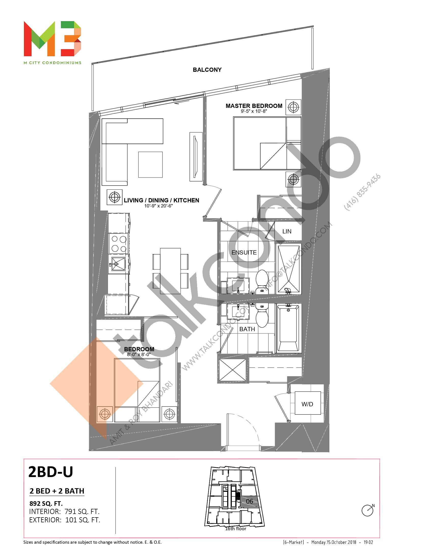 2BD-U Floor Plan at M3 Condos - 791 sq.ft