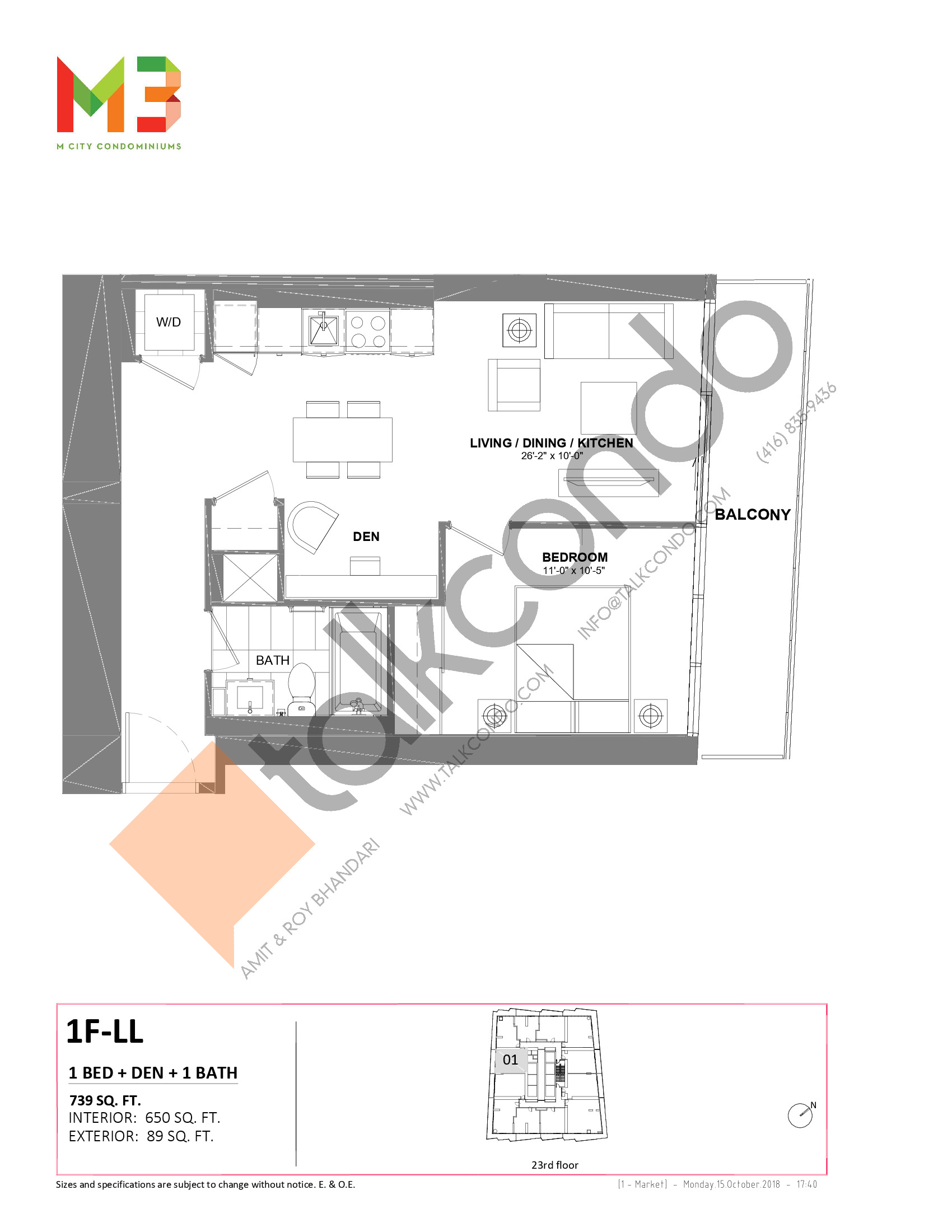 1F-LL Floor Plan at M3 Condos - 650 sq.ft