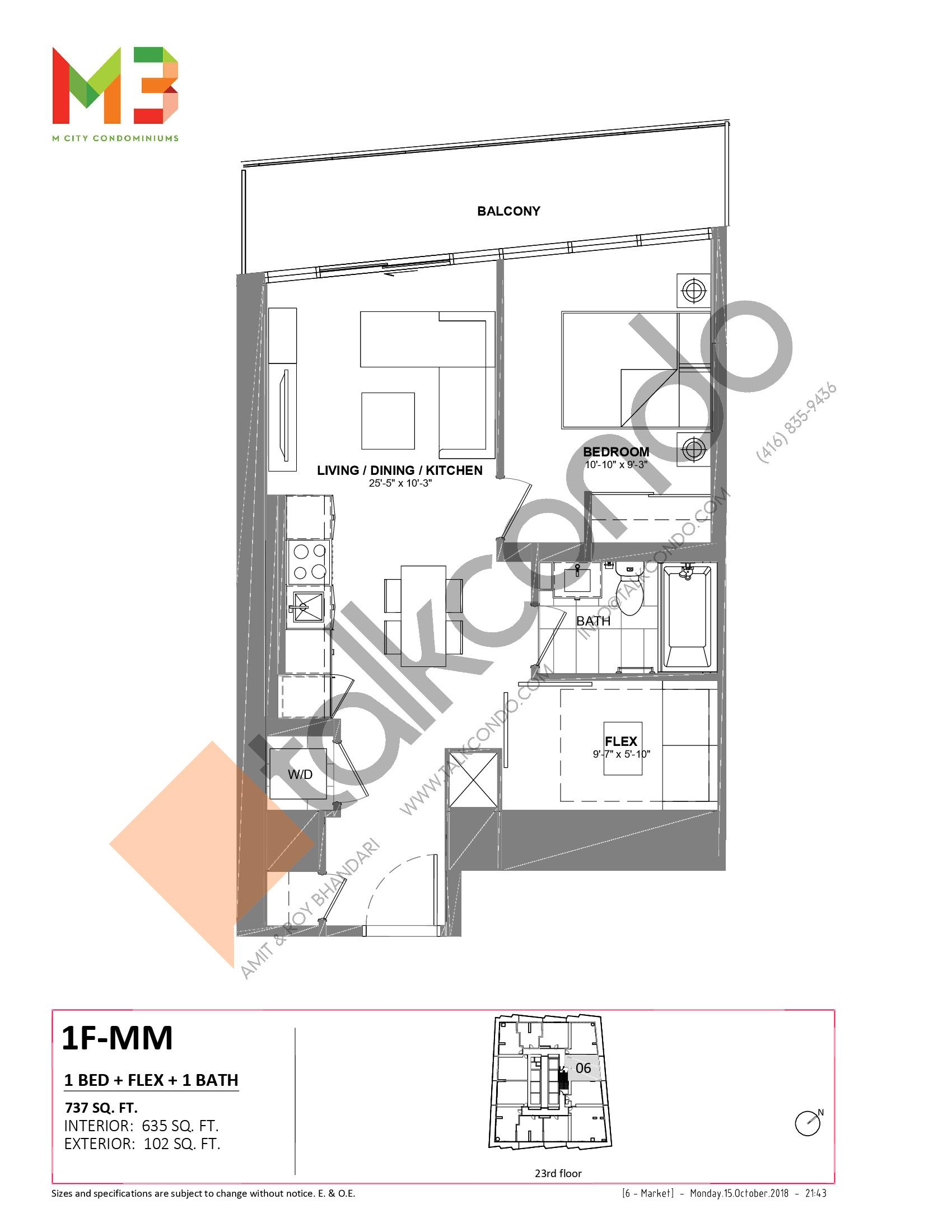 1F-MM Floor Plan at M3 Condos - 635 sq.ft