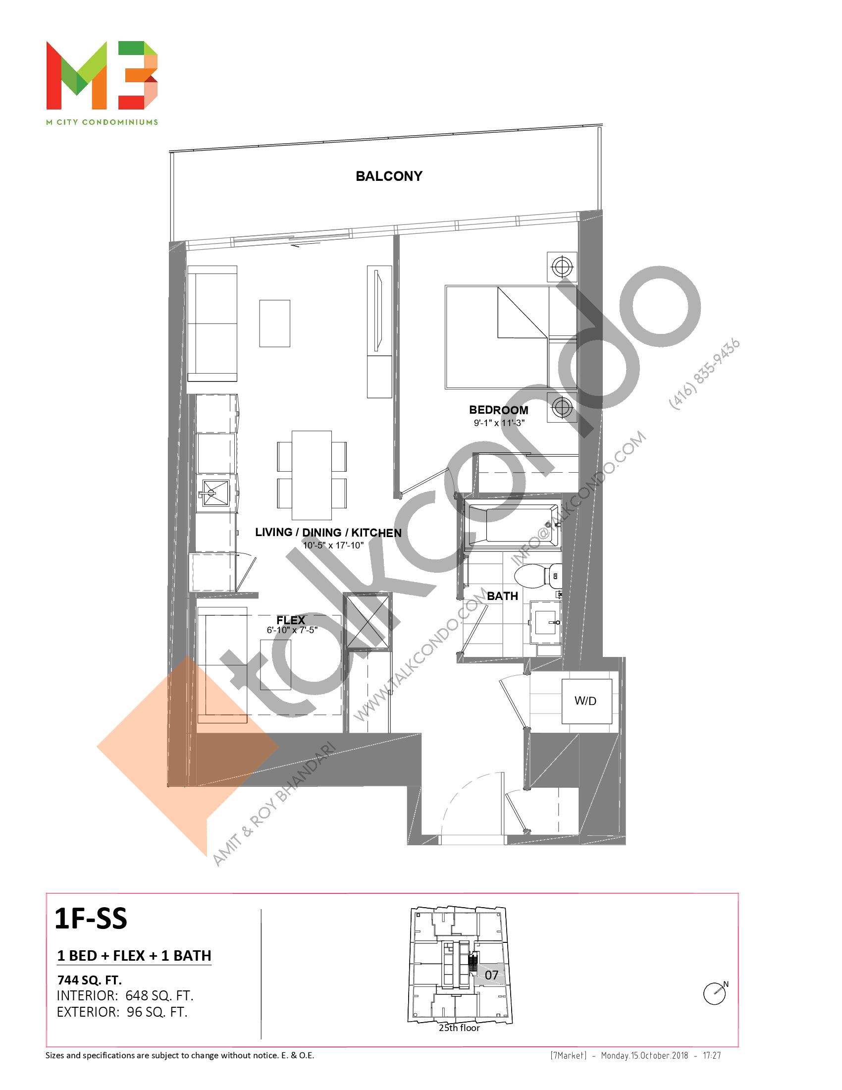 1F-SS Floor Plan at M3 Condos - 648 sq.ft