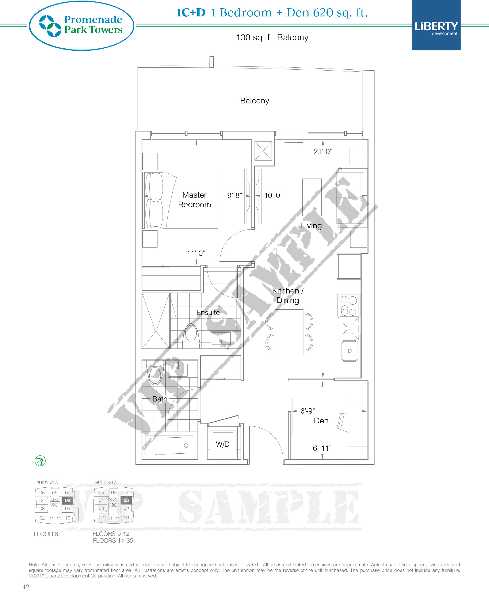 1C+D Floor Plan at Promenade Park Towers Condos - 620 sq.ft