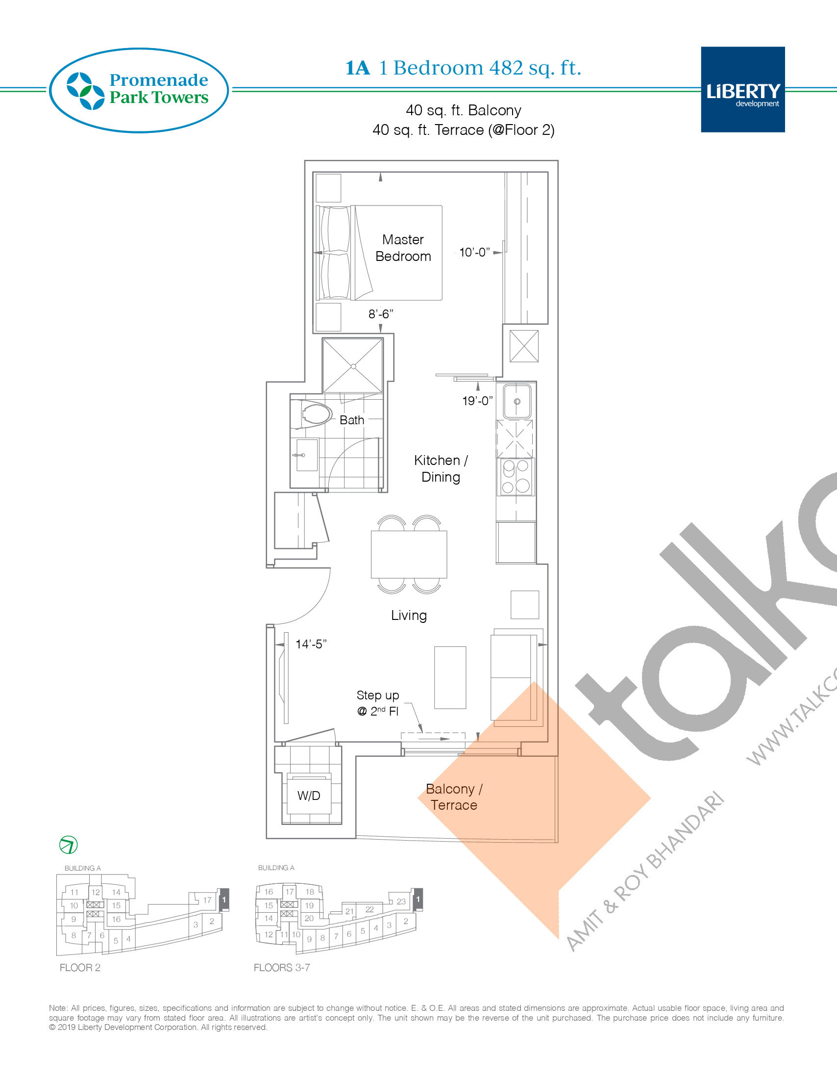 1A Floor Plan at Promenade Park Towers Condos - 482 sq.ft