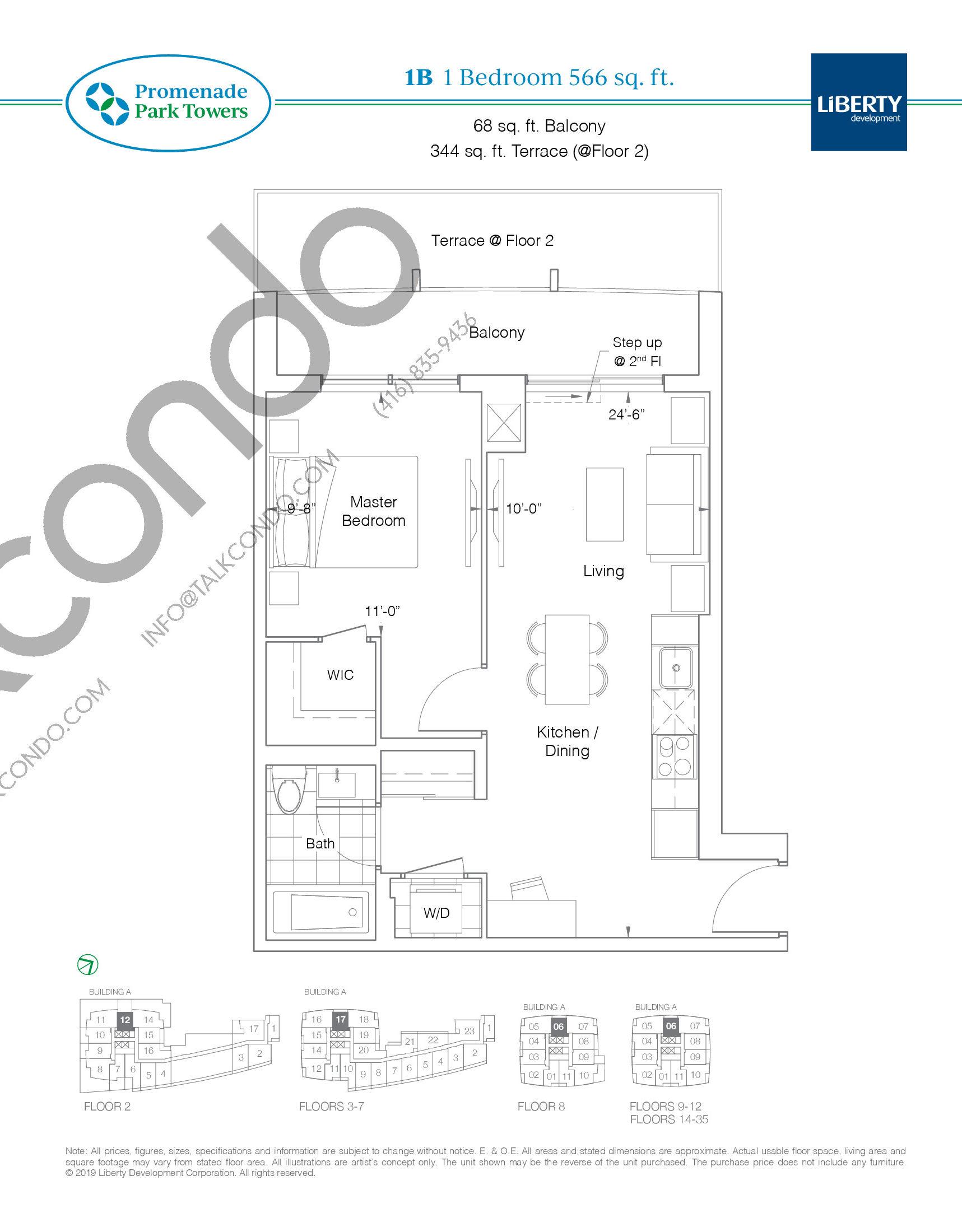 1B Floor Plan at Promenade Park Towers Condos - 566 sq.ft