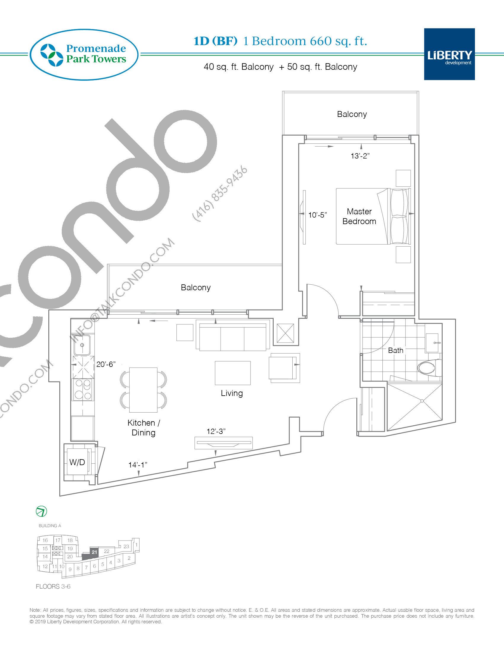 1D (BF) Floor Plan at Promenade Park Towers Condos - 660 sq.ft