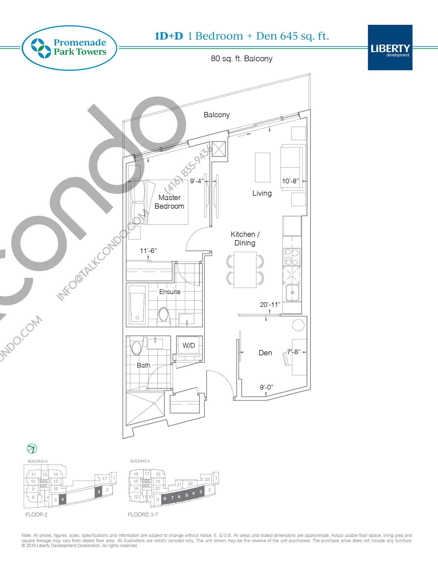 1D+D Floor Plan at Promenade Park Towers Condos - 645 sq.ft