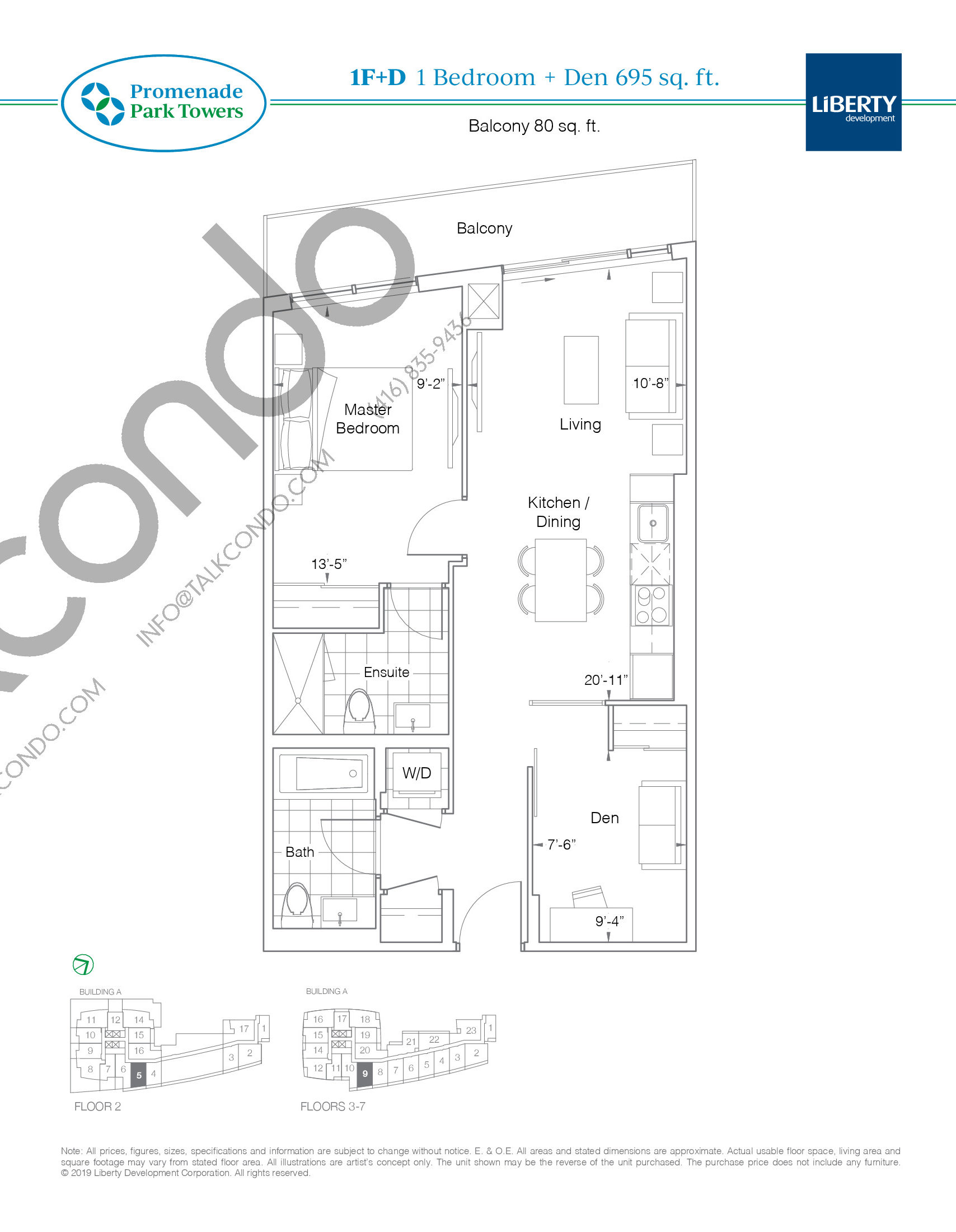 1F+D Floor Plan at Promenade Park Towers Condos - 695 sq.ft