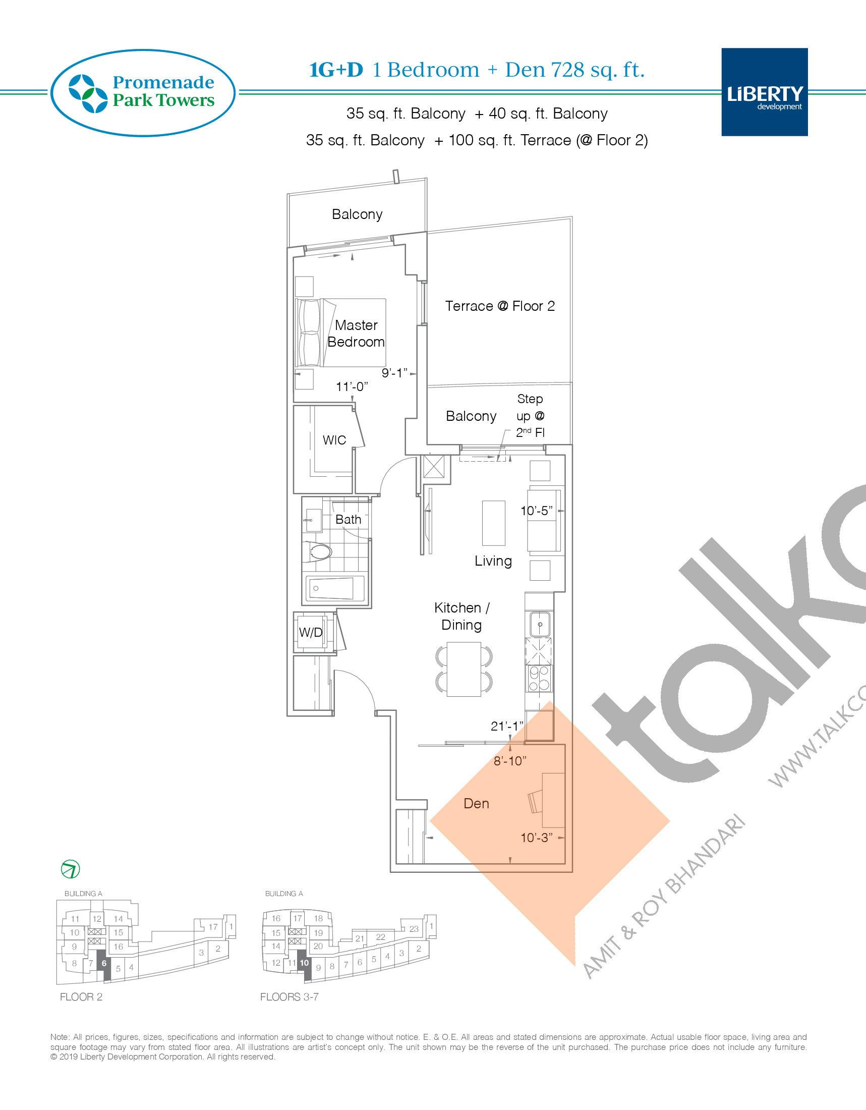 1G+D Floor Plan at Promenade Park Towers Condos - 728 sq.ft