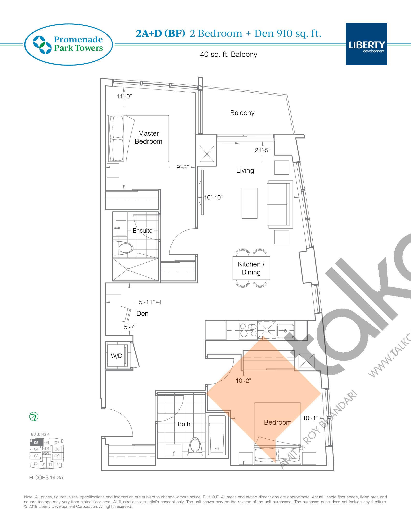 2B+D (BF) Floor Plan at Promenade Park Towers Condos - 910 sq.ft