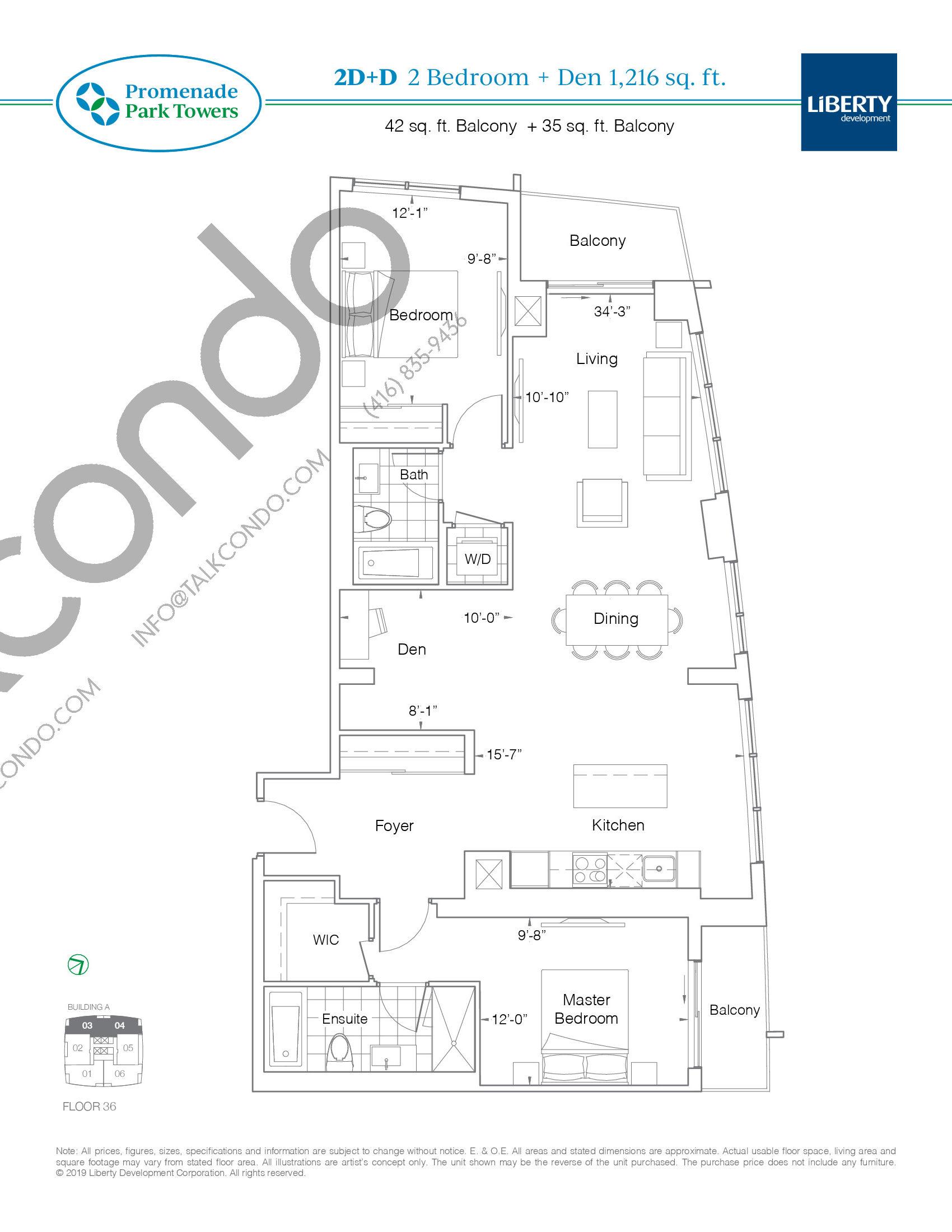 2D+D Floor Plan at Promenade Park Towers Condos - 1216 sq.ft
