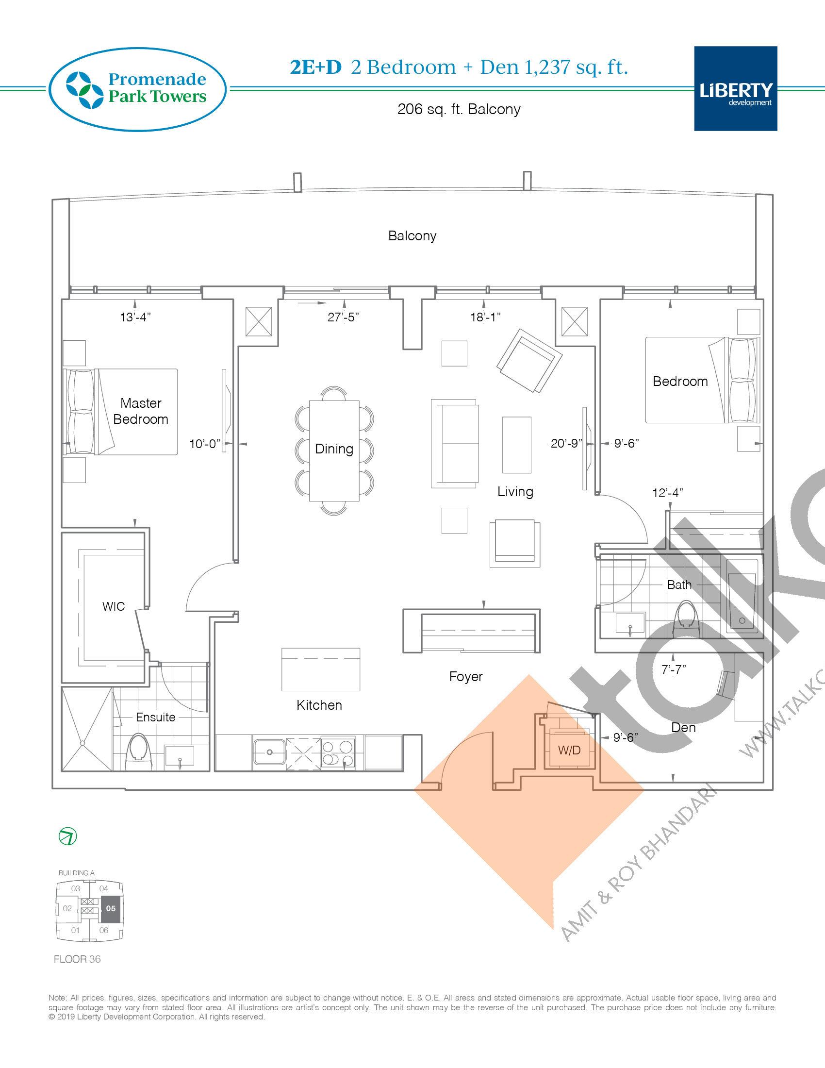 2E+D Floor Plan at Promenade Park Towers Condos - 1237 sq.ft