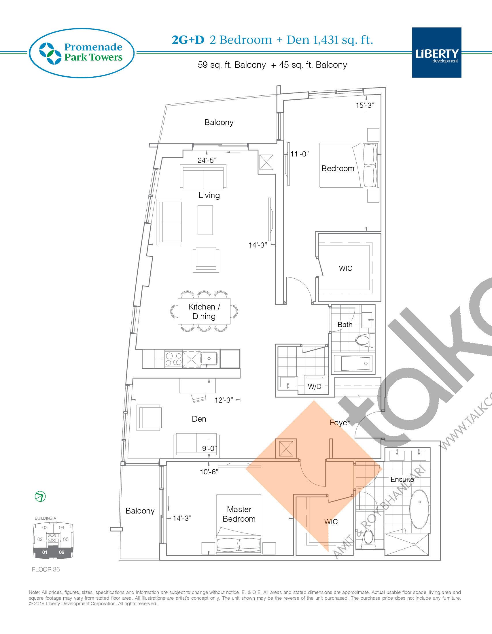 2G+D Floor Plan at Promenade Park Towers Condos - 1431 sq.ft