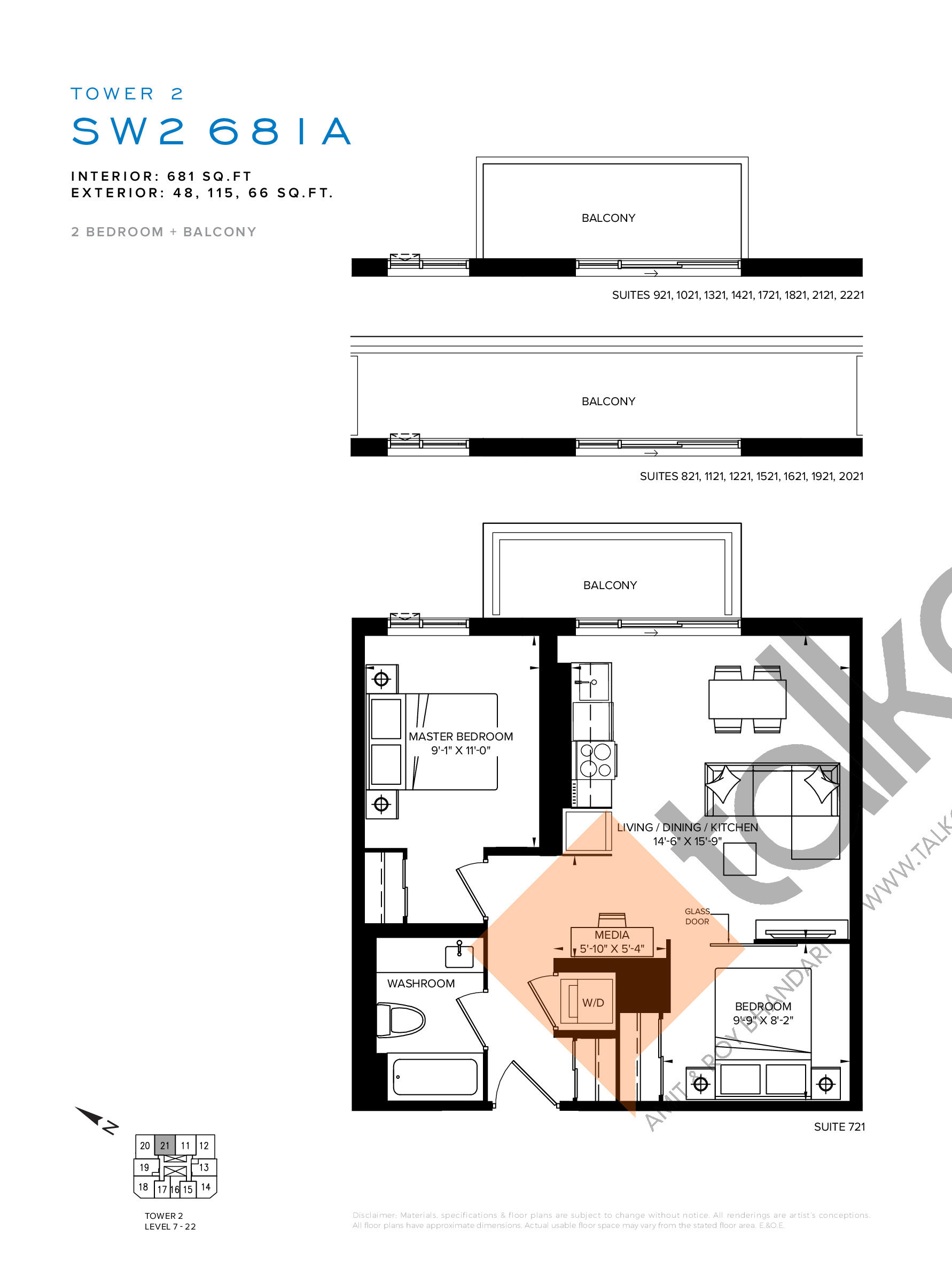 SW2 681A Floor Plan at SXSW Tower 2 Condos (SXSW2) - 681 sq.ft