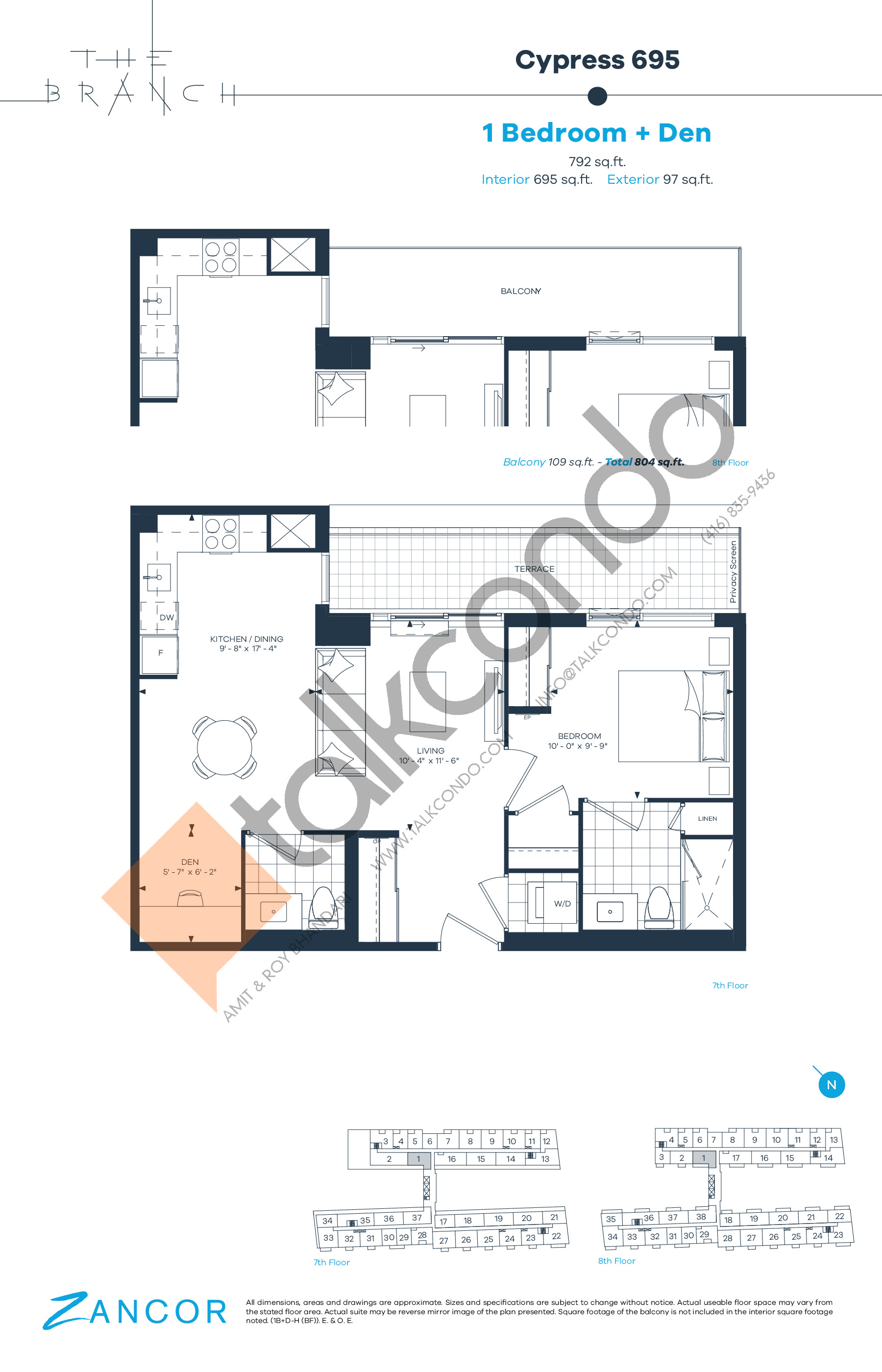 Cypress 695 Floor Plan at The Branch Condos - 695 sq.ft