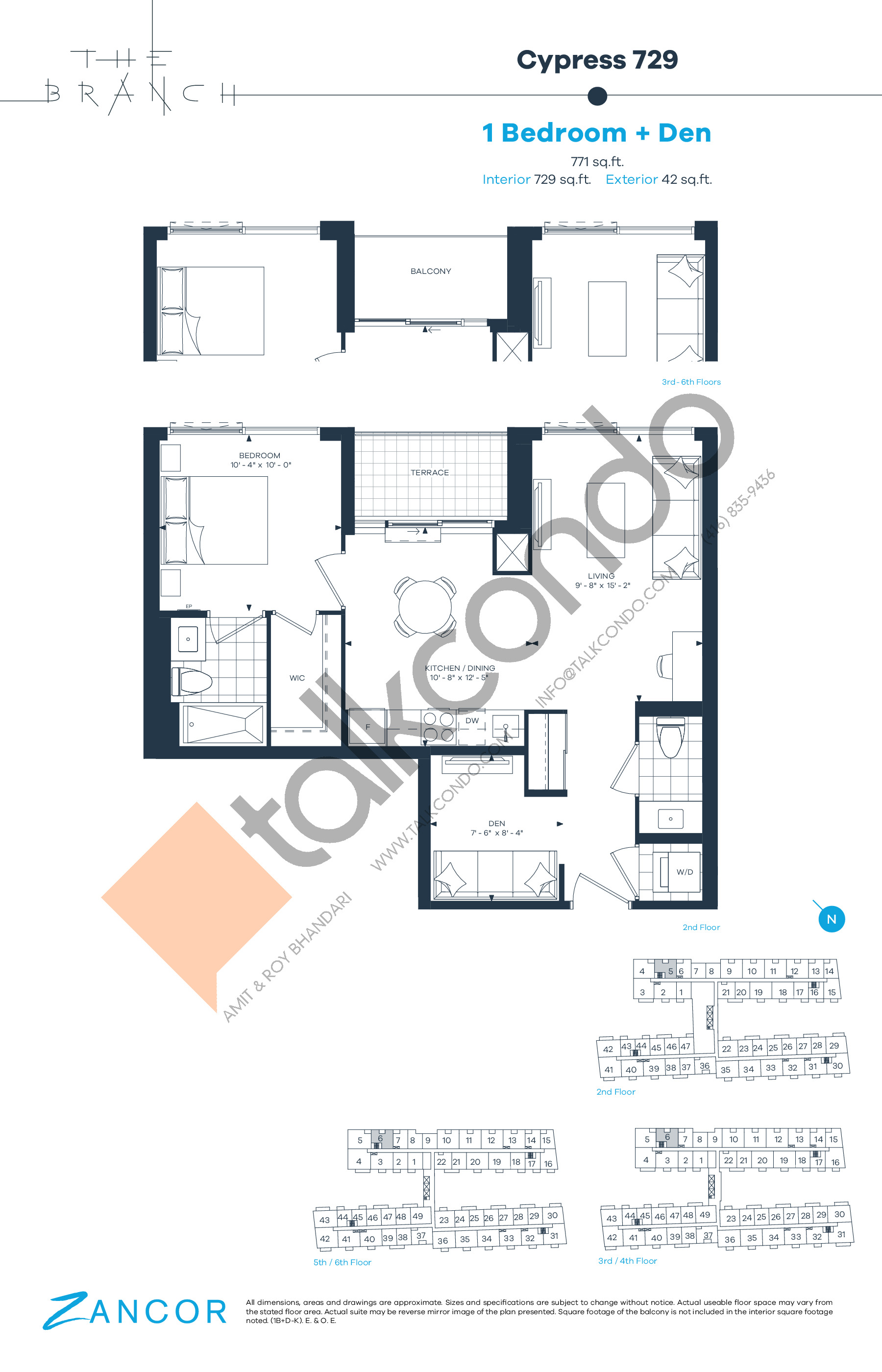 Cypress 729 Floor Plan at The Branch Condos - 729 sq.ft