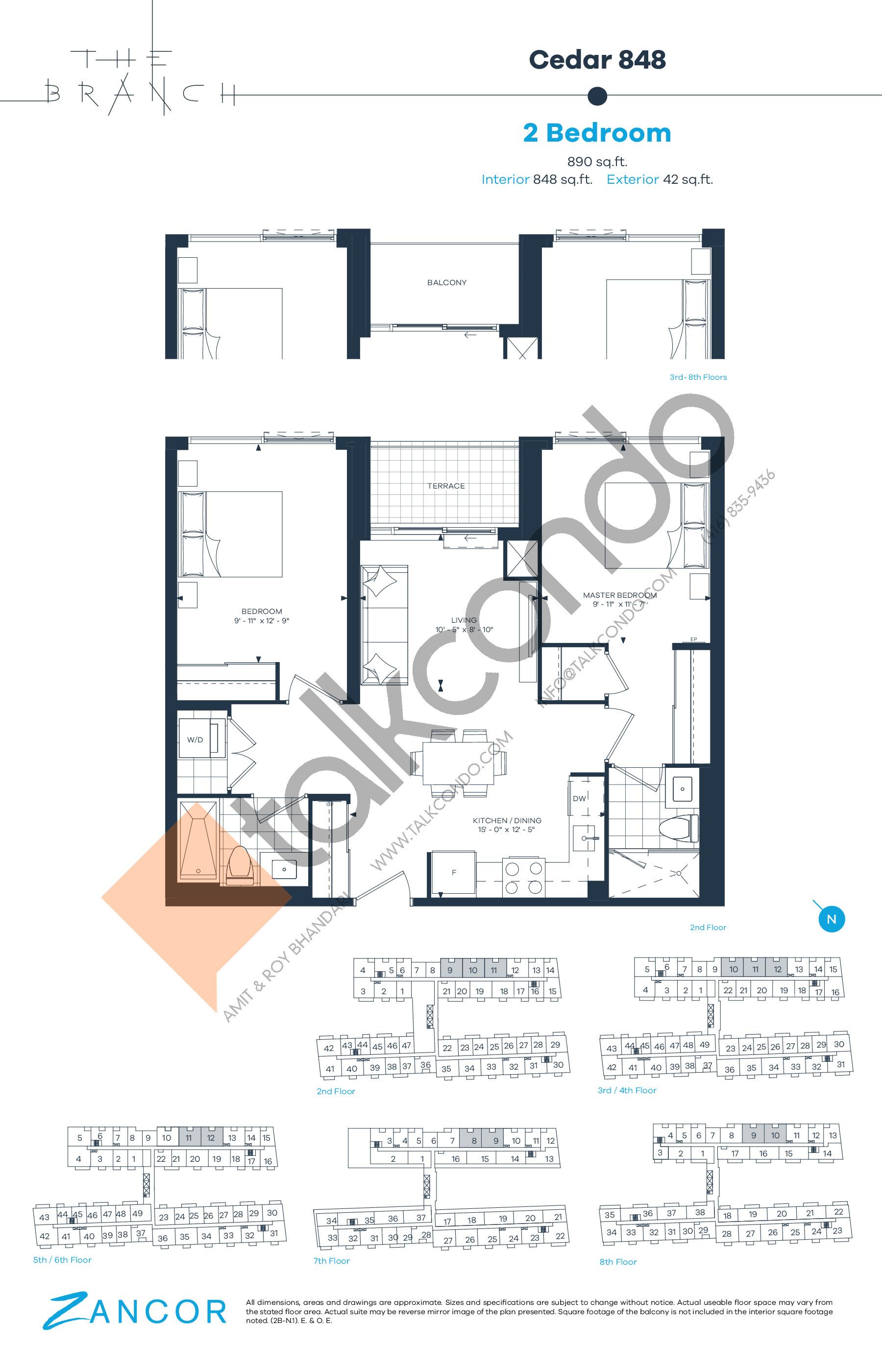 Cedar 848 Floor Plan at The Branch Condos - 848 sq.ft