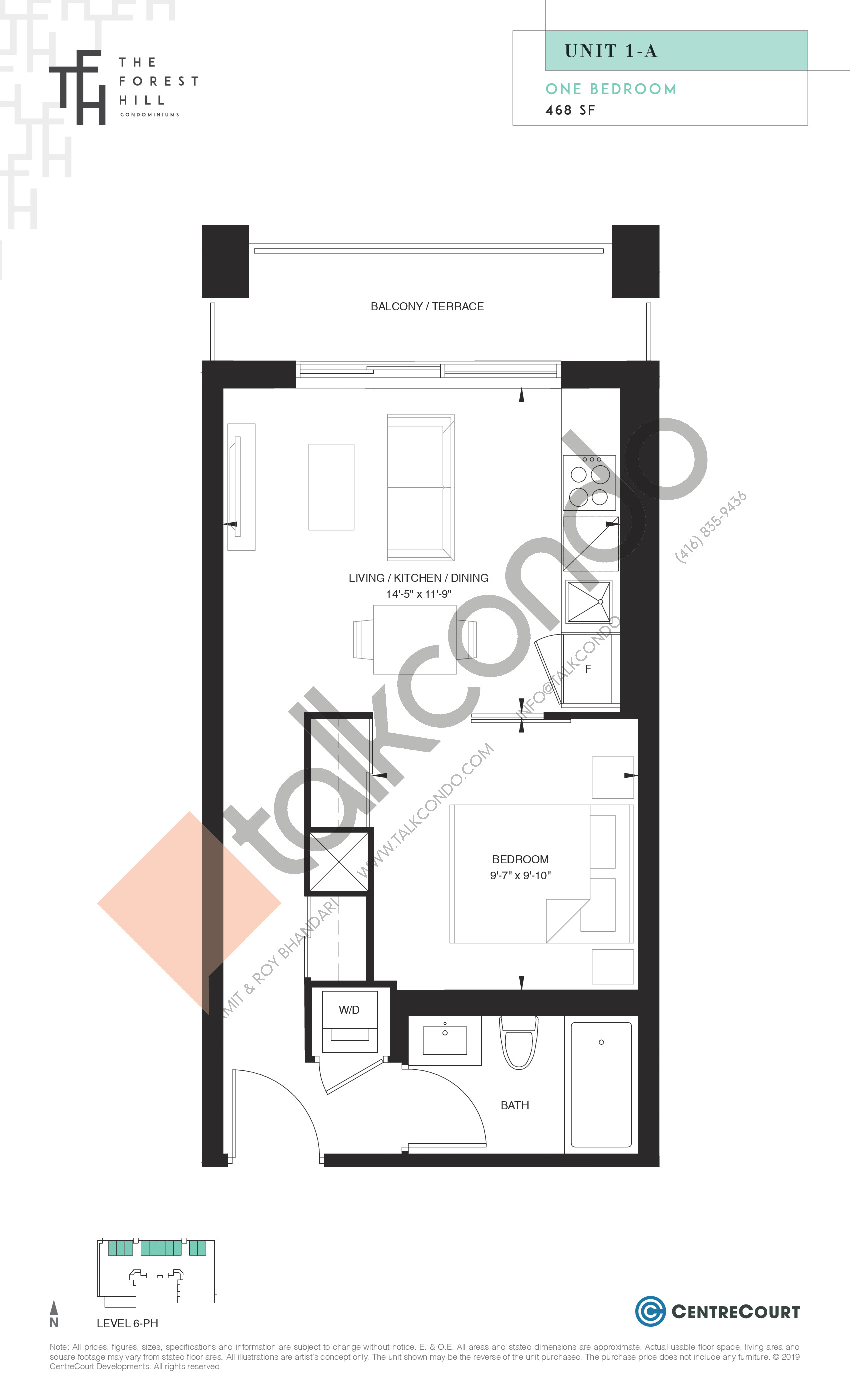 Unit 1-A Floor Plan at The Forest Hill Condos - 468 sq.ft