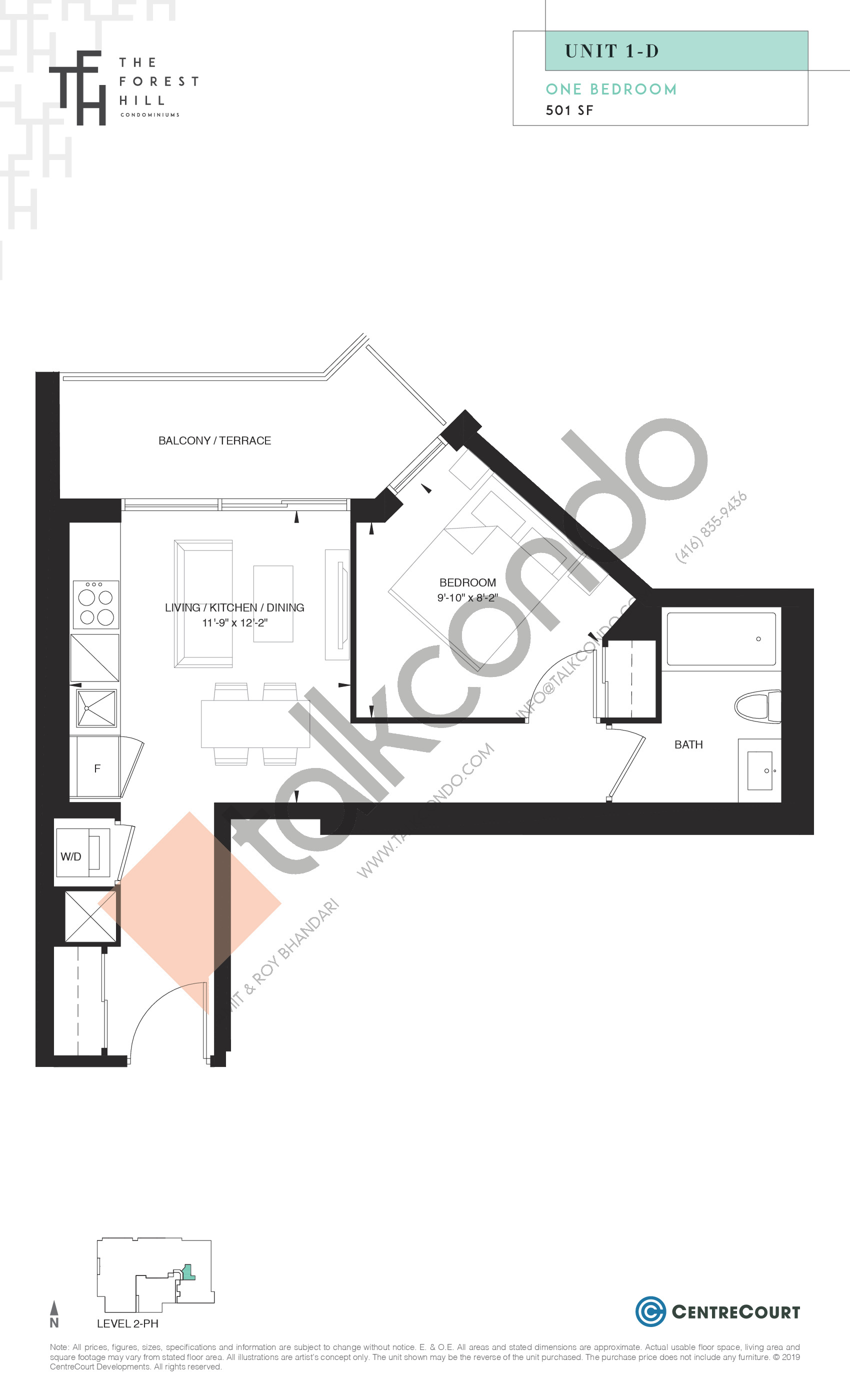 Unit 1-D Floor Plan at The Forest Hill Condos - 501 sq.ft