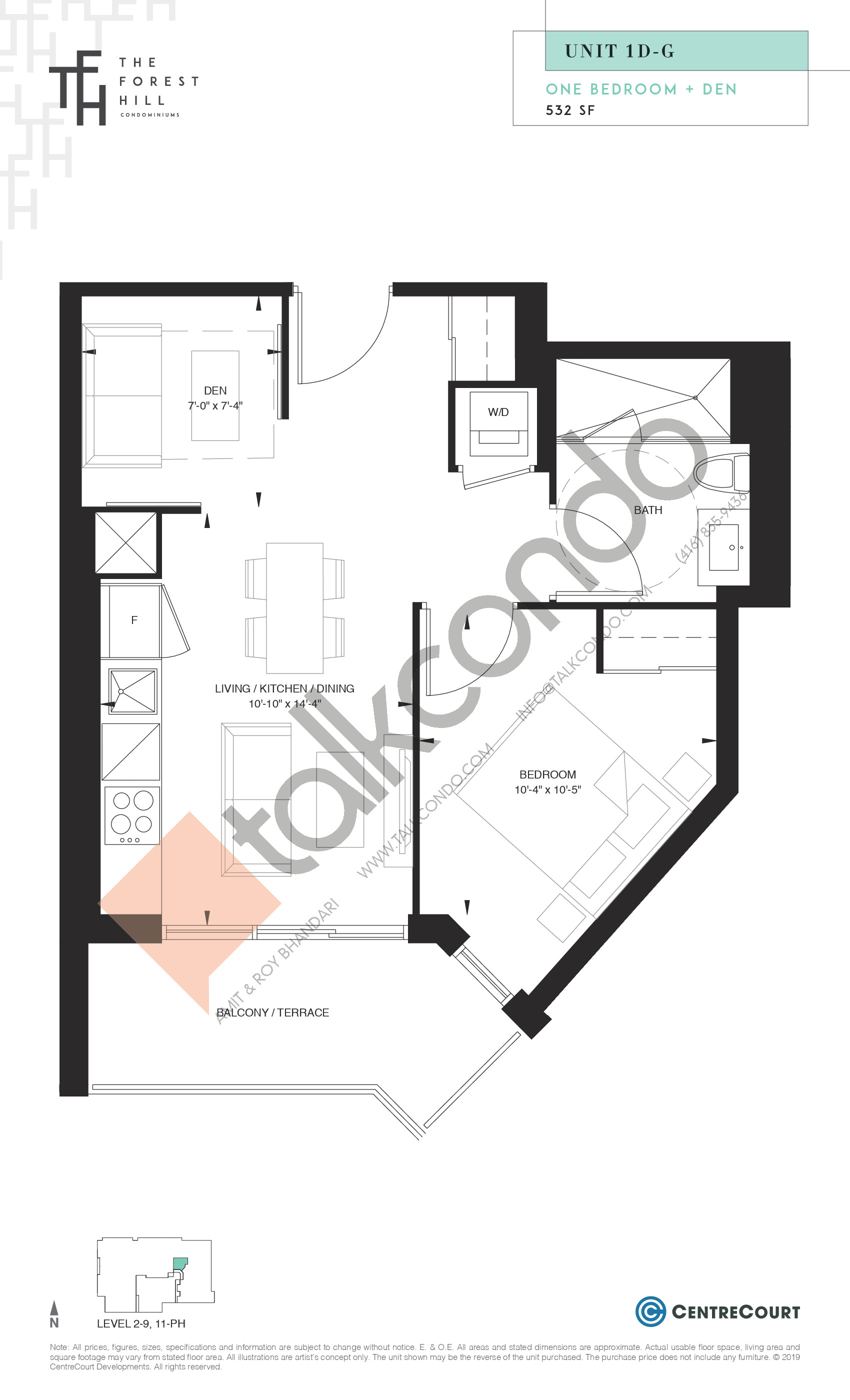 Unit 1D-G Floor Plan at The Forest Hill Condos - 532 sq.ft