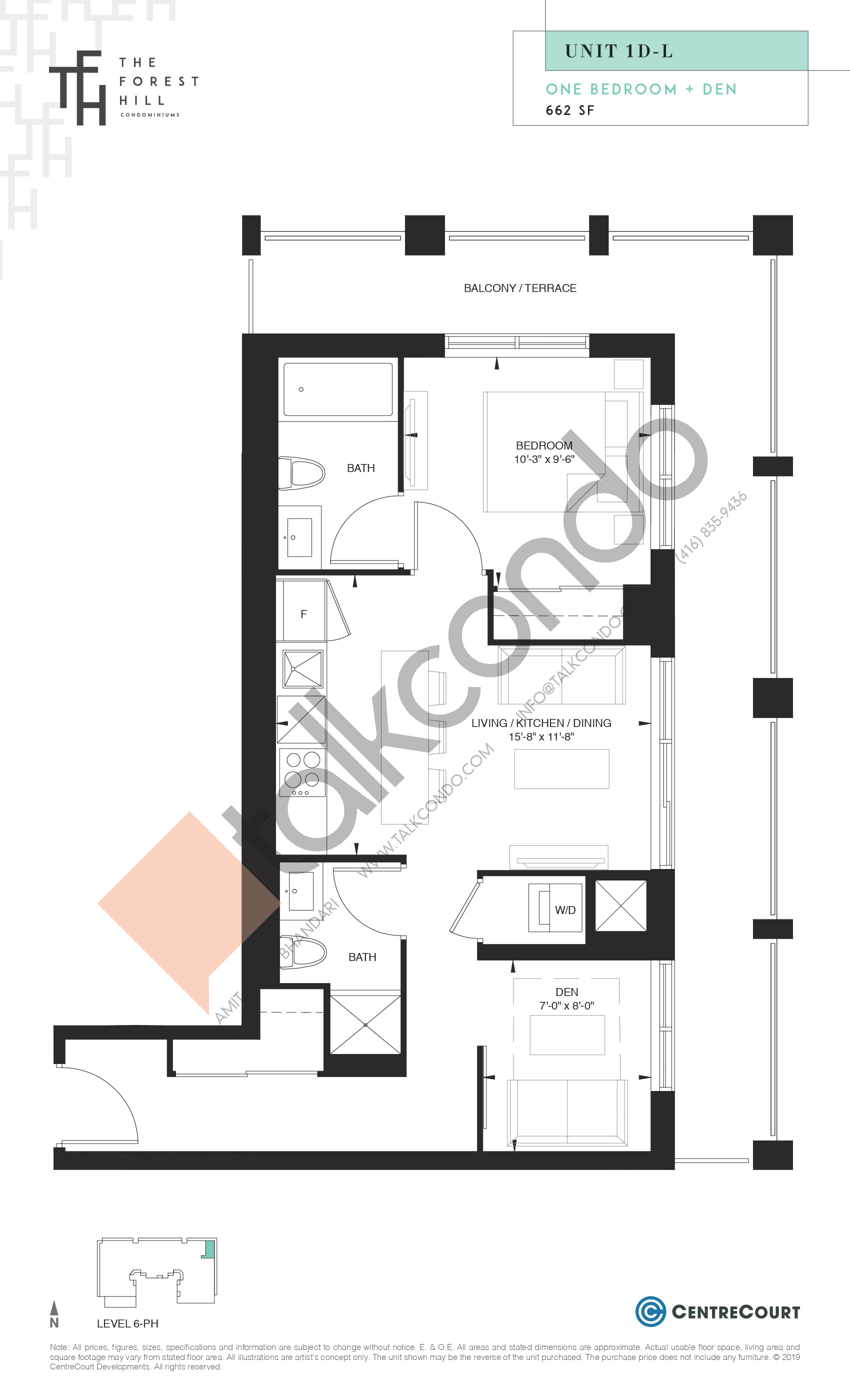 Unit 1D-L Floor Plan at The Forest Hill Condos - 662 sq.ft