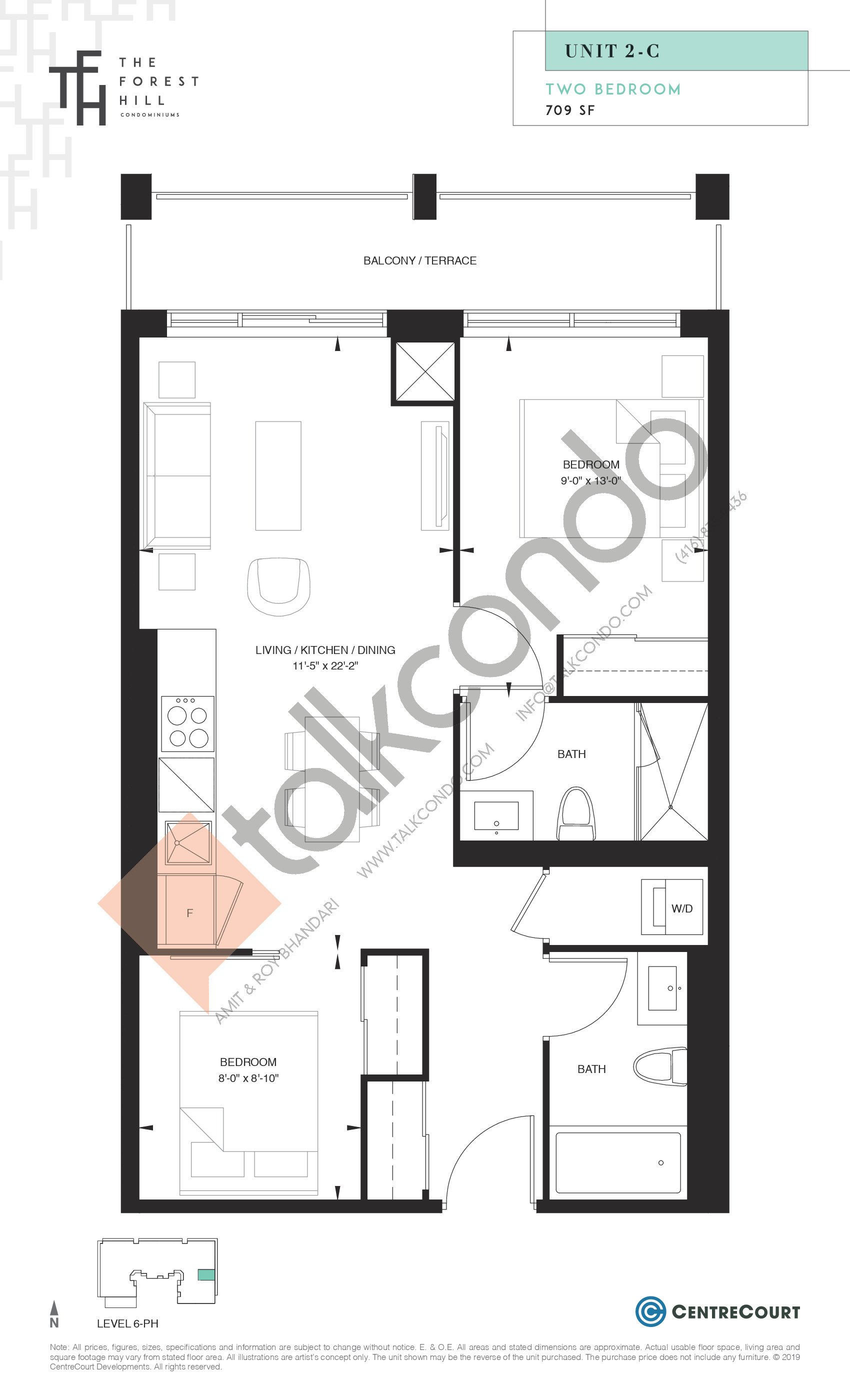 Unit 2-C Floor Plan at The Forest Hill Condos - 709 sq.ft