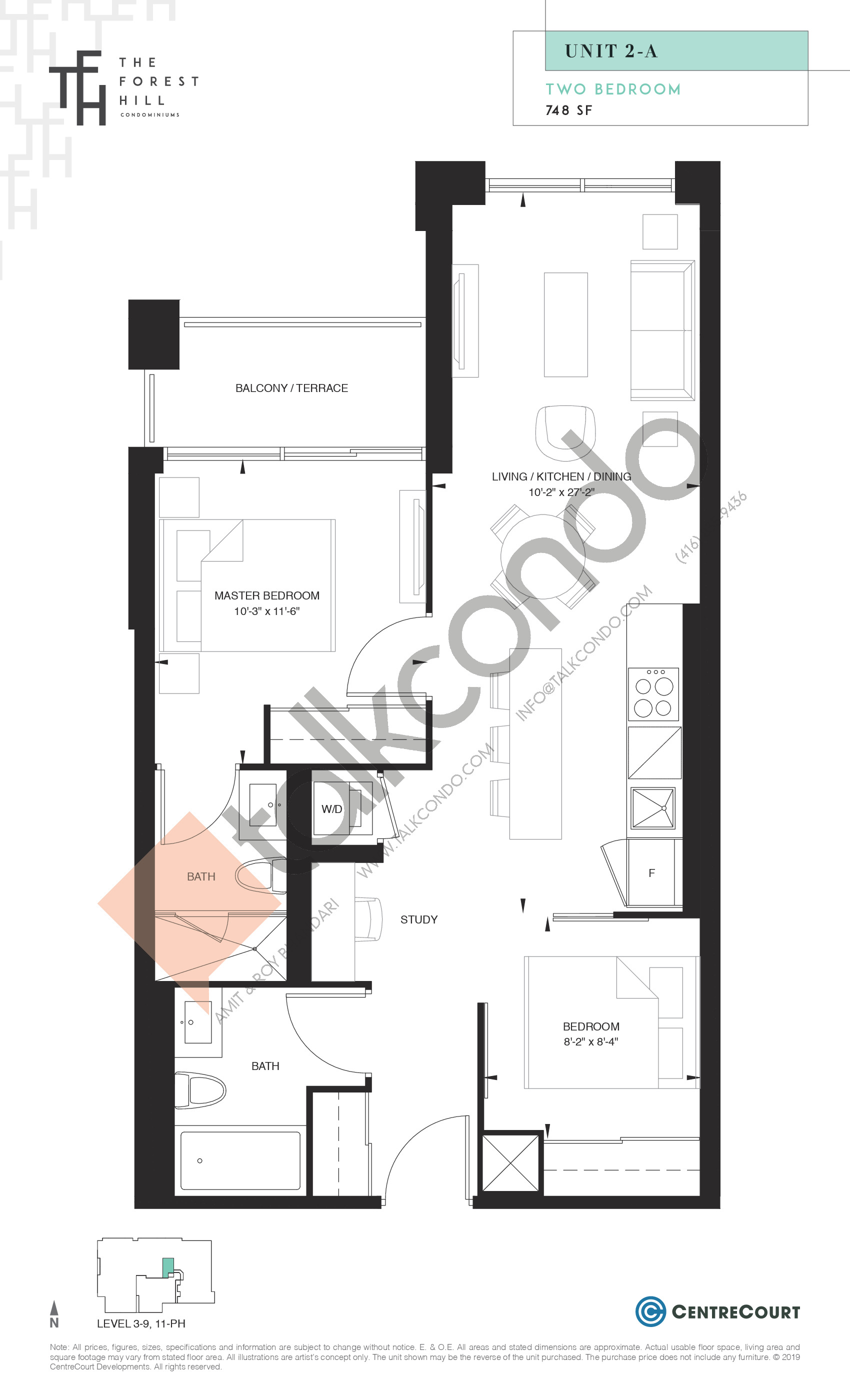 Unit 2-A Floor Plan at The Forest Hill Condos - 748 sq.ft