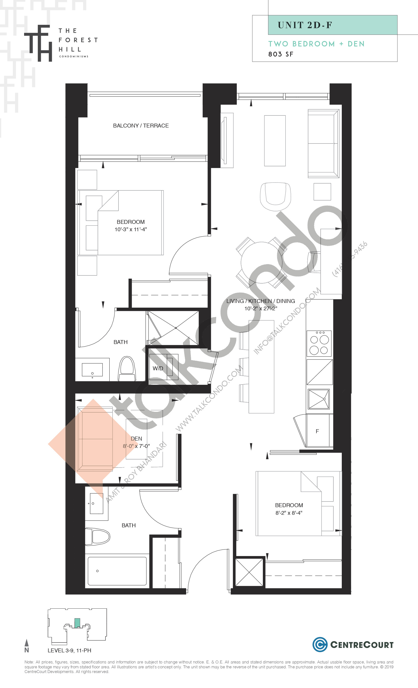 Unit 2D-F Floor Plan at The Forest Hill Condos - 803 sq.ft