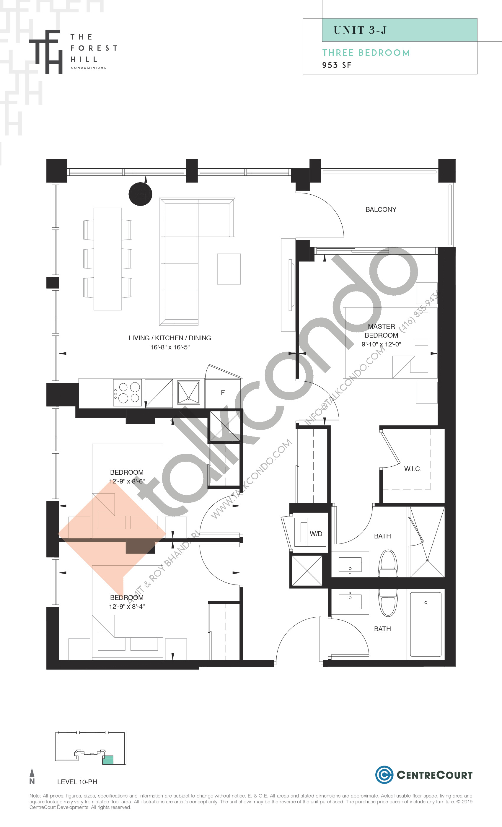 Unit 3-J Floor Plan at The Forest Hill Condos - 953 sq.ft