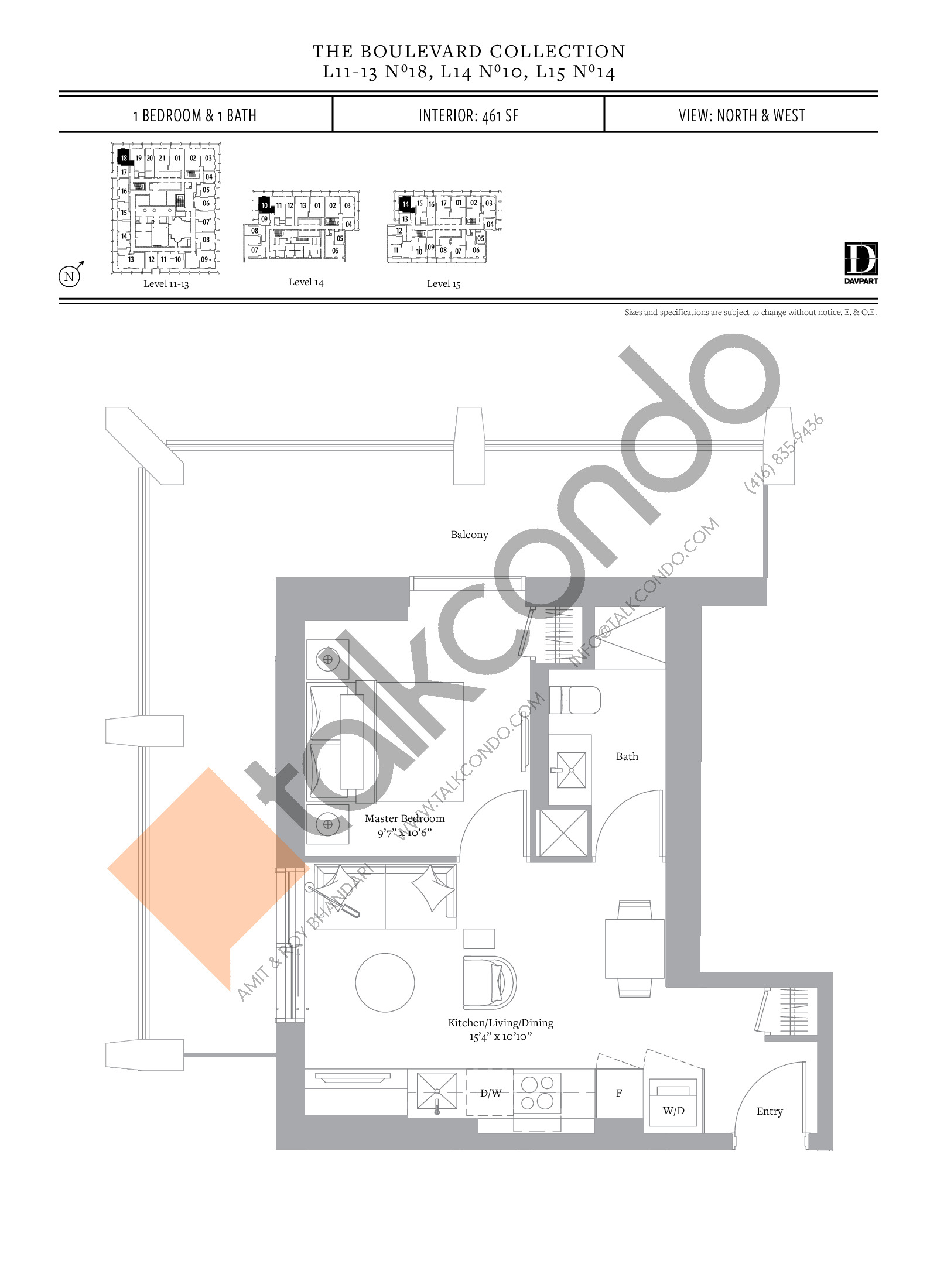No 18, 10, 14 - The Boulevard Collection Floor Plan at The United Bldg. Condos - 461 sq.ft